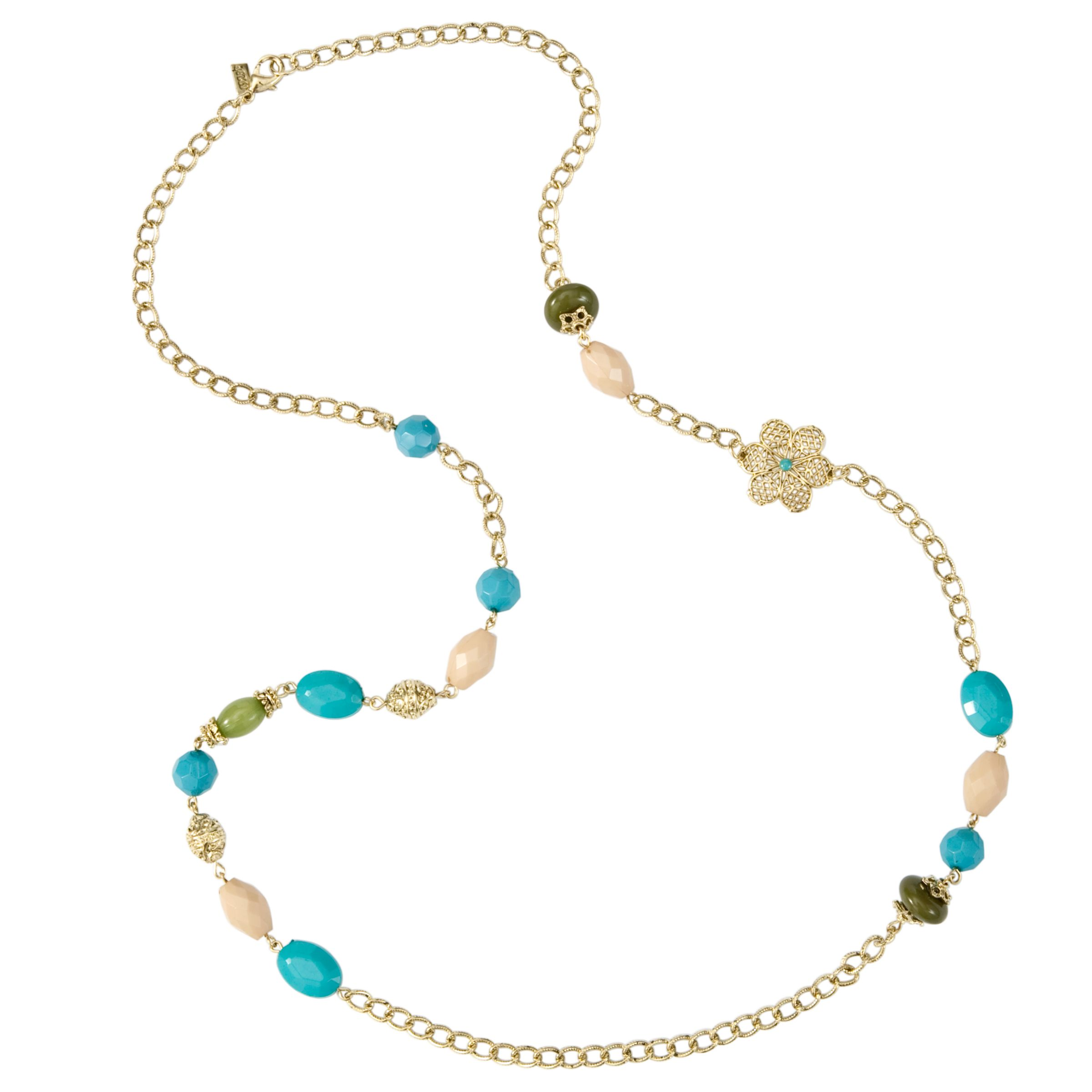 1928 New York Turquoise Fantasy Cream Green and Turquoise Bead Necklace