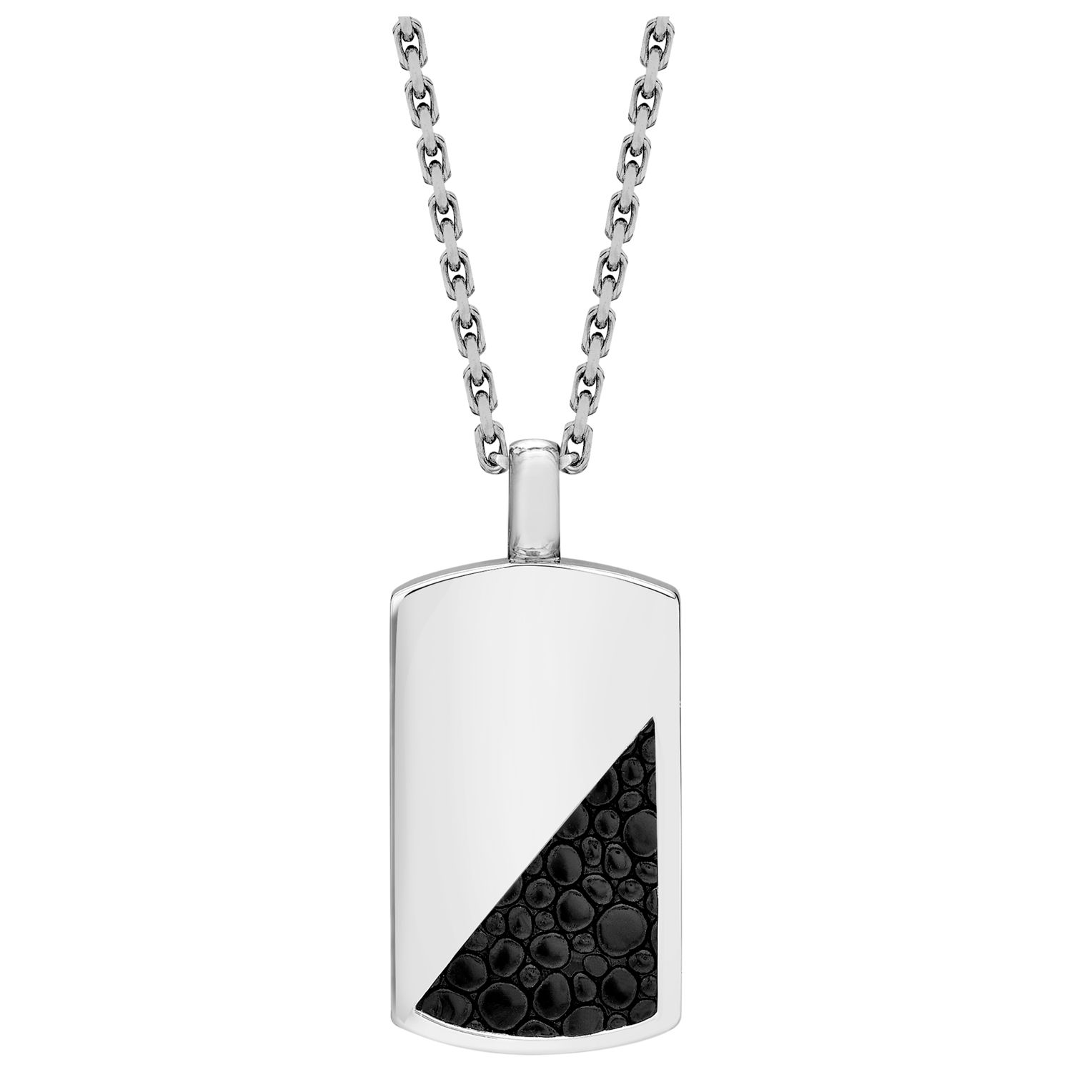 Hoxton London Sterling Silver and Italian Leather Dog Tag Necklace, Black/Silver