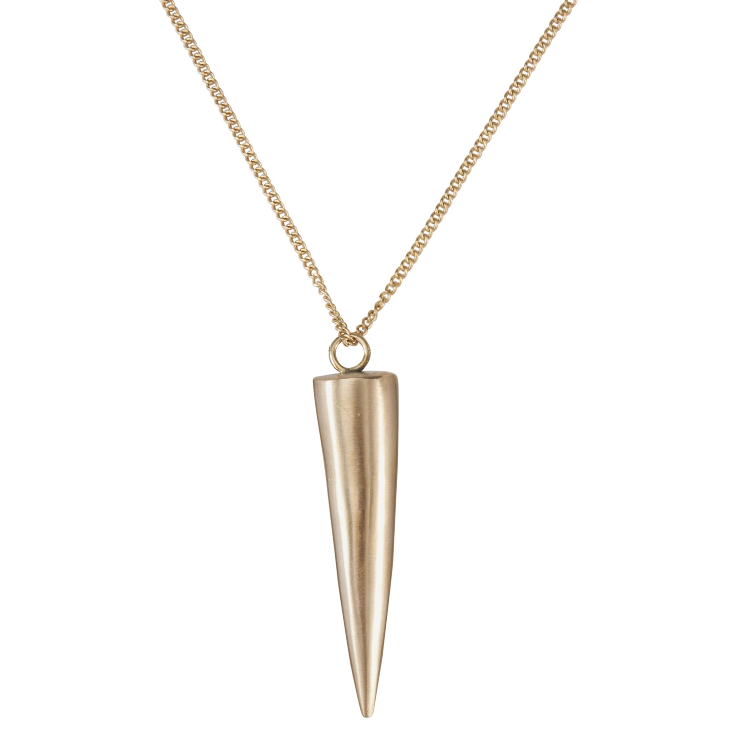 Made Large Brass Cone Pendant Necklace