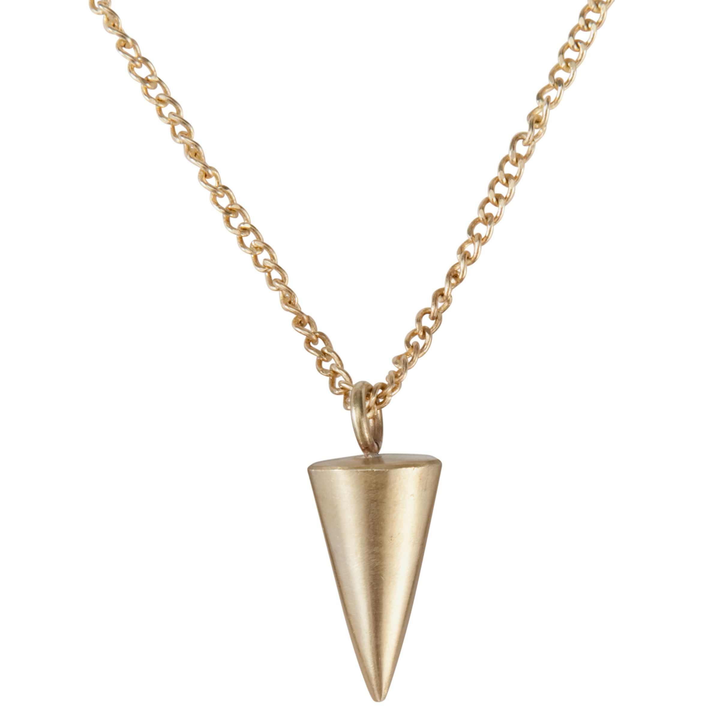 Made Small Brass Cone Pendant Necklace