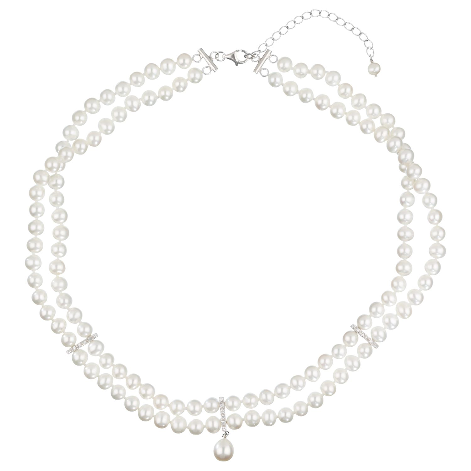 Lido Pearls Double Row Necklace with Cubic Zirconia Bar