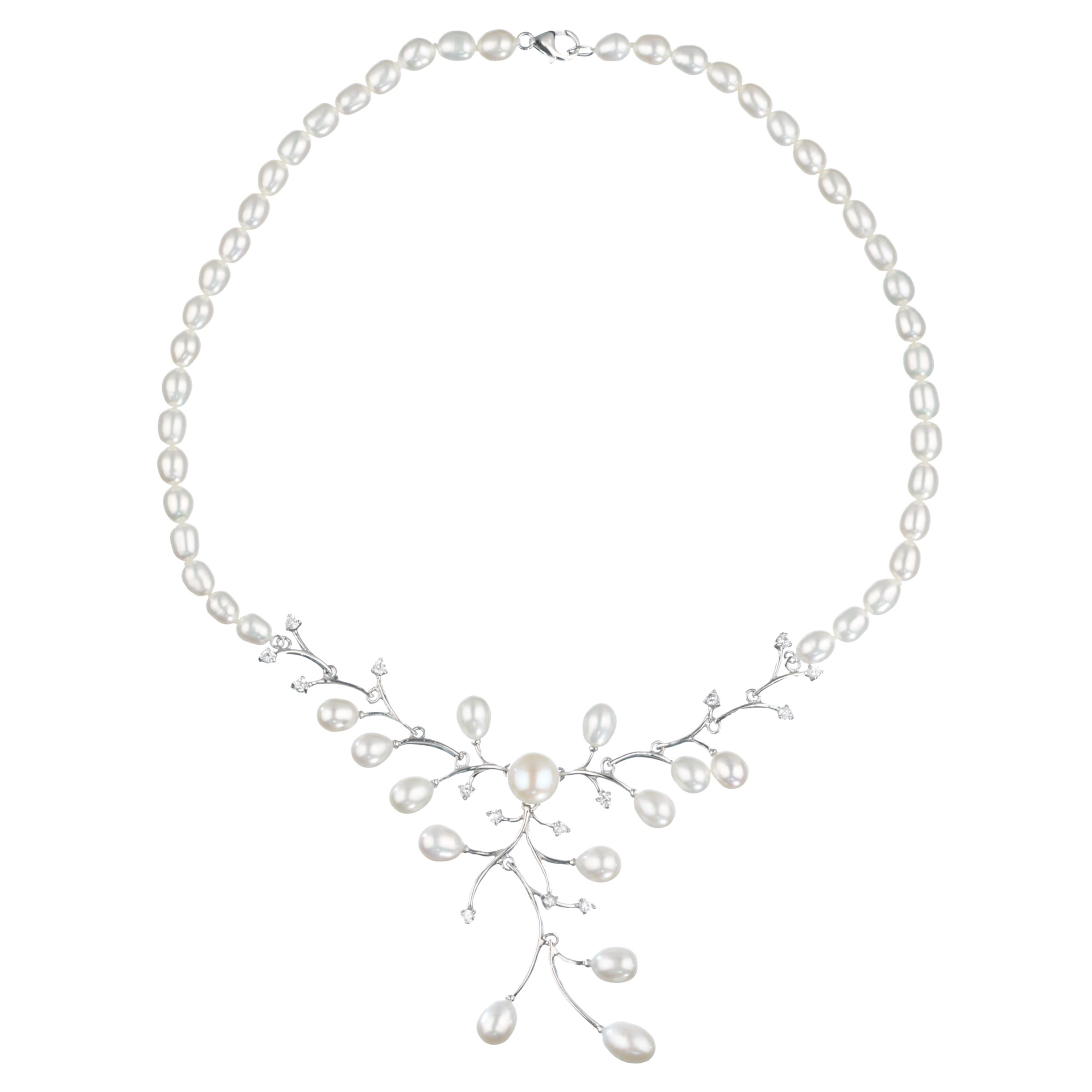 Lido Pearls Pearl and Cubic Zirconia Collar Necklace