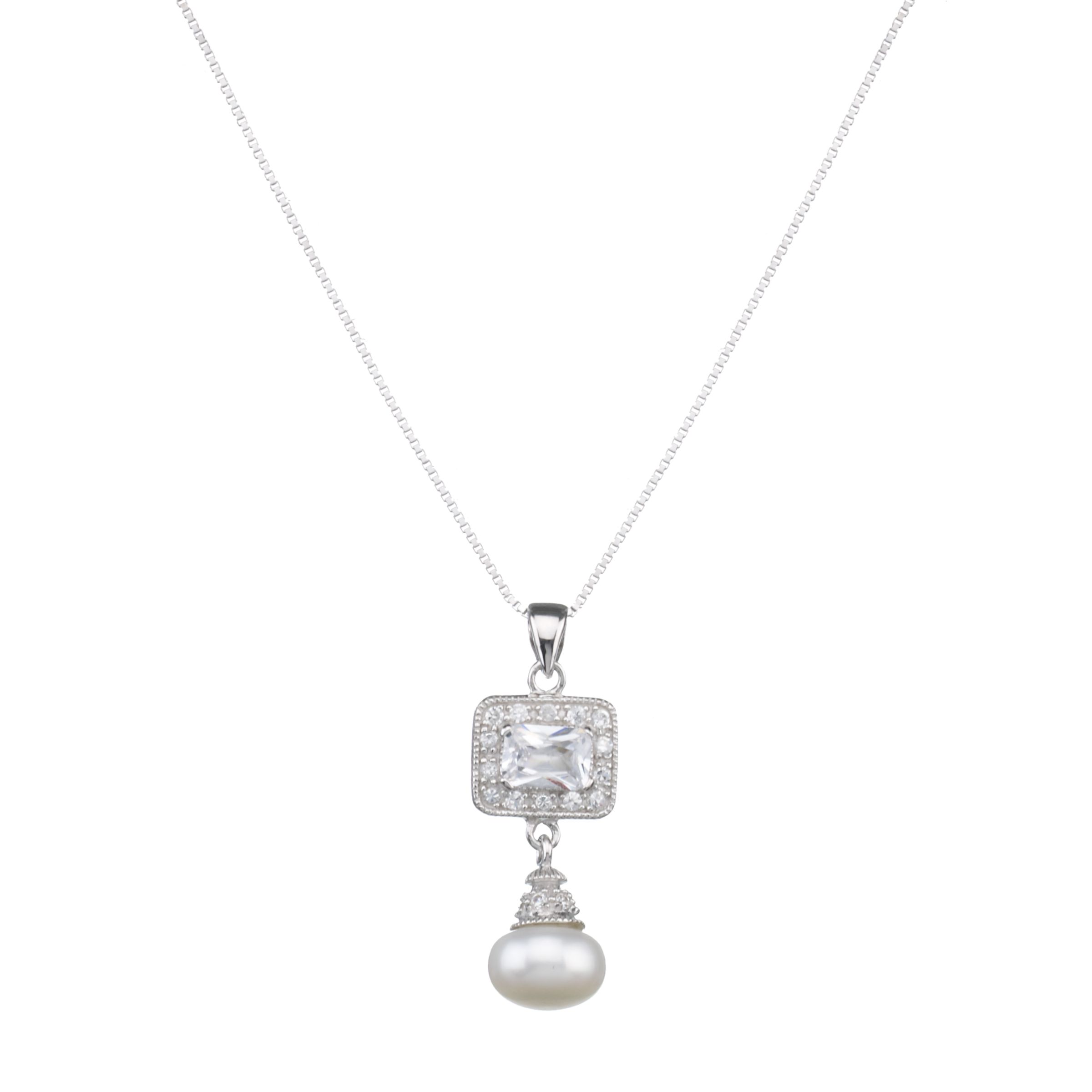 Lido Pearls Square Cubic Zirconia Pendant Necklace with Pearl Drop