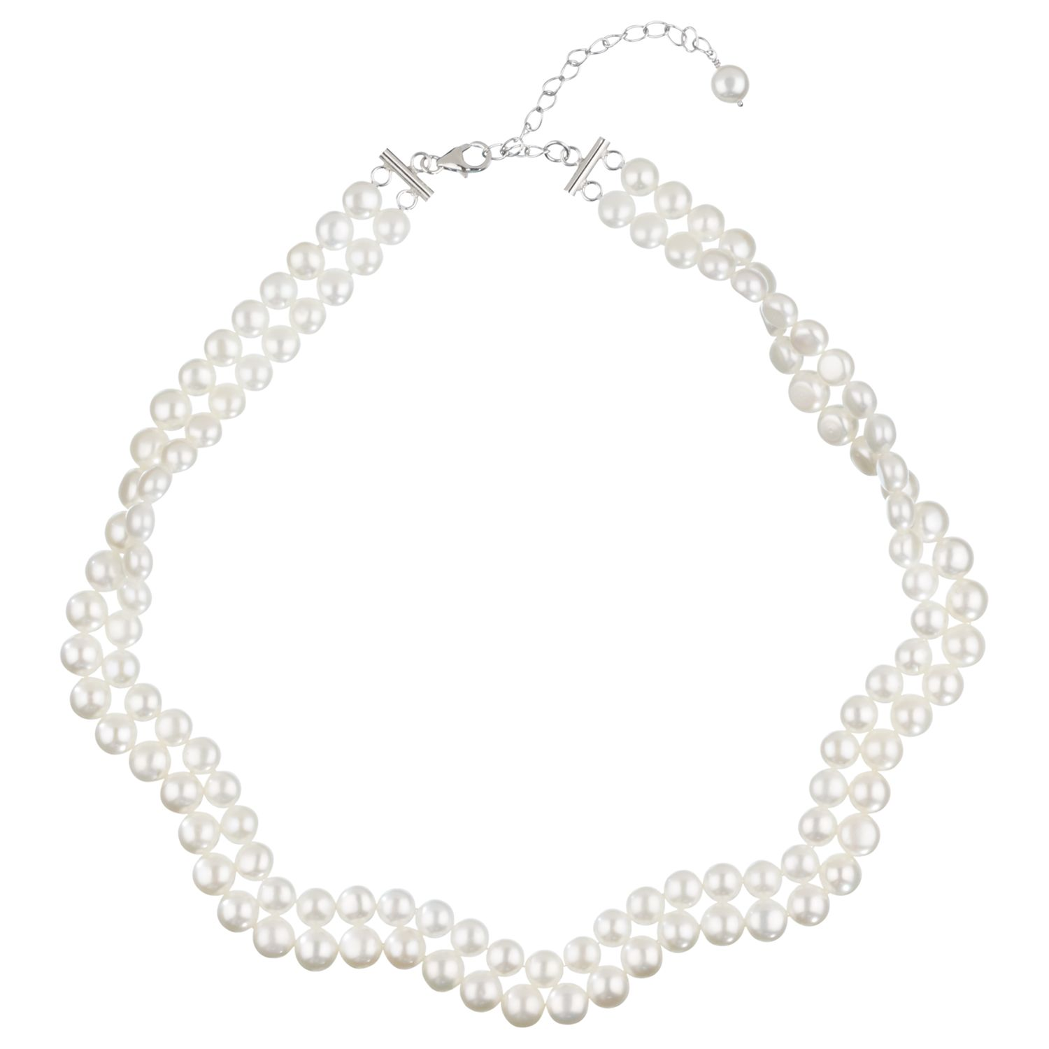 Lido Pearls 2 Row Flat Freshwater Pearl Collar Necklace