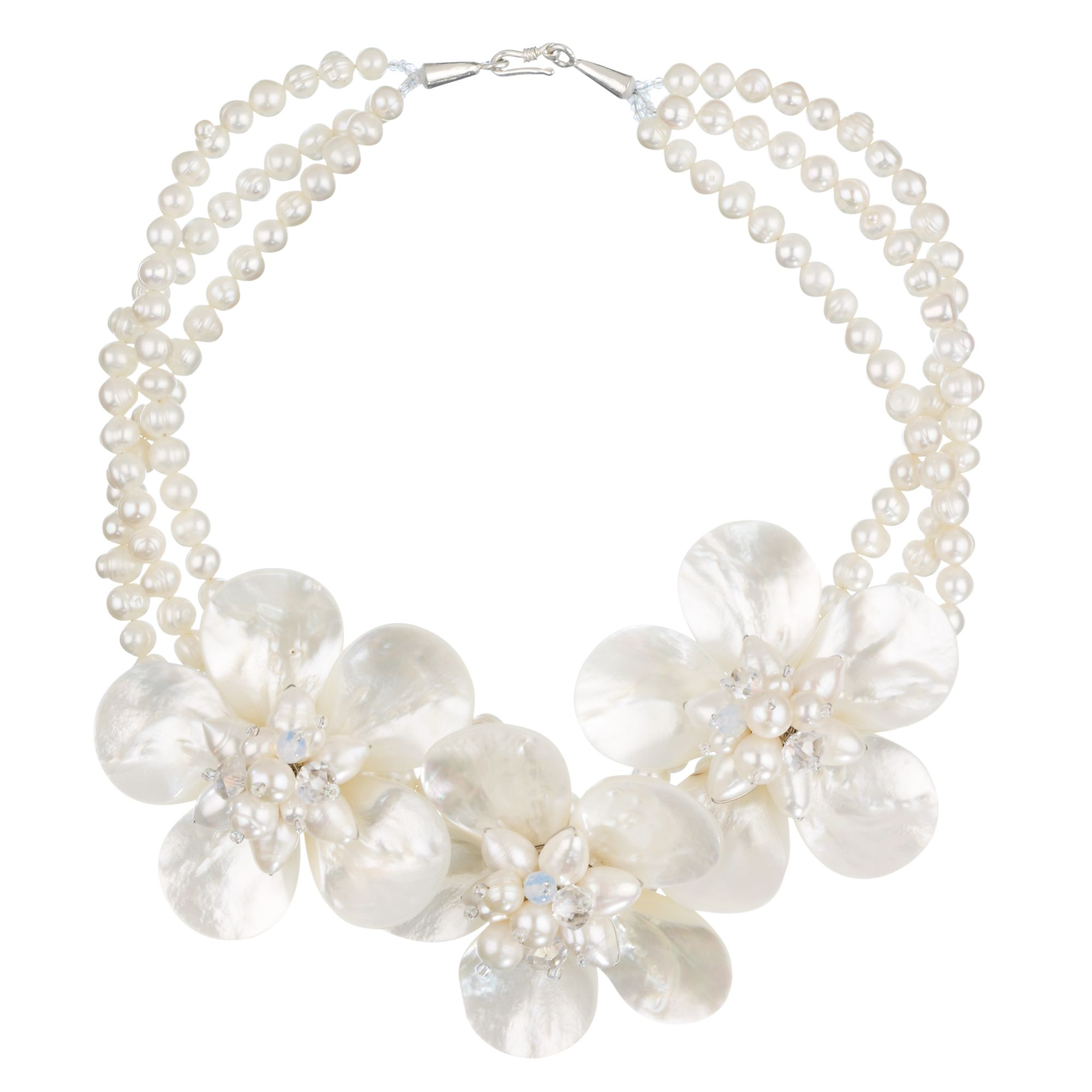 Lido Pearls Multi-Pearl 3 Mother of Pearl Flowers Short Necklace