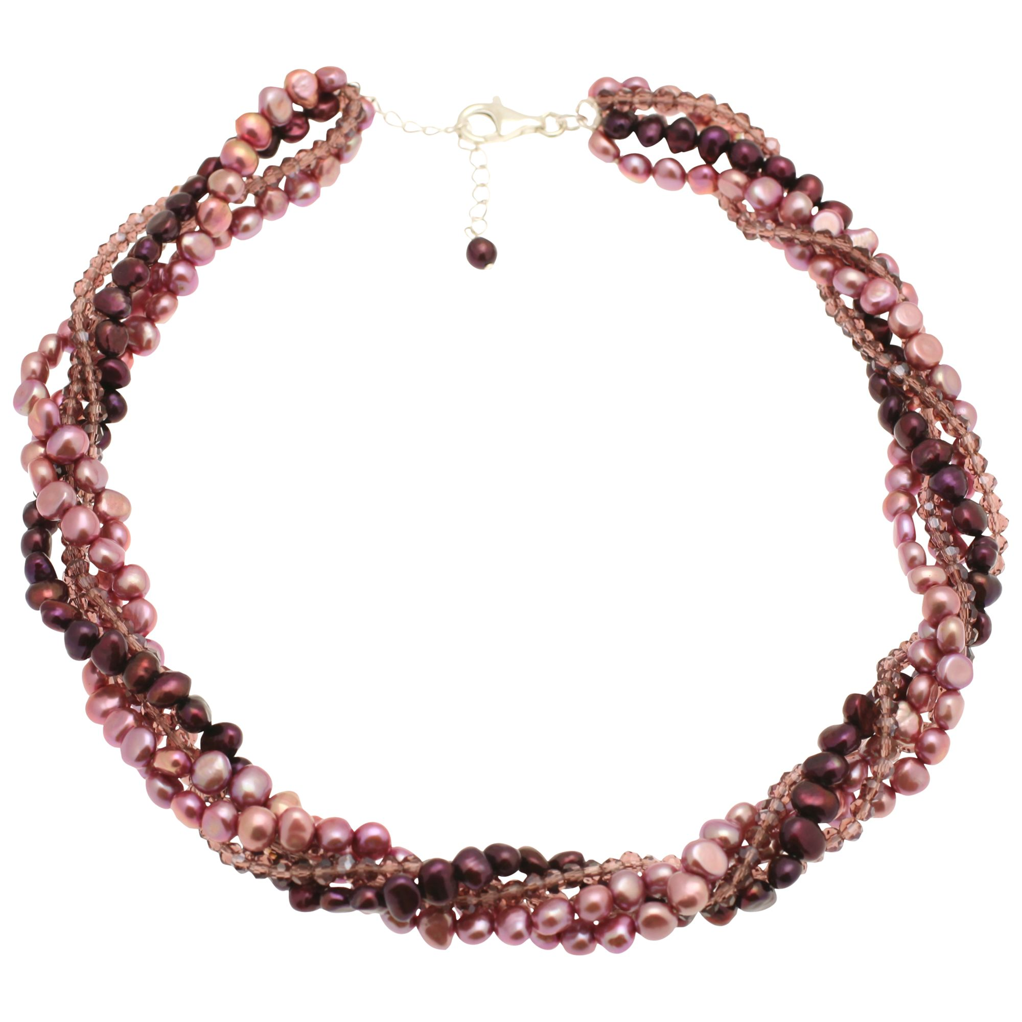 Lido 5 Row Pearls and Crystal Necklace, Multi