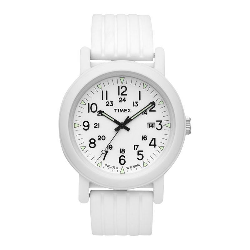 Timex T2N718 Unisex Original White Camper Silicone Strap Watch
