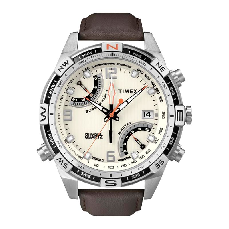 Timex T49866 Intelligent Quartz Chronograph Compass Brown Leather Strap Watch