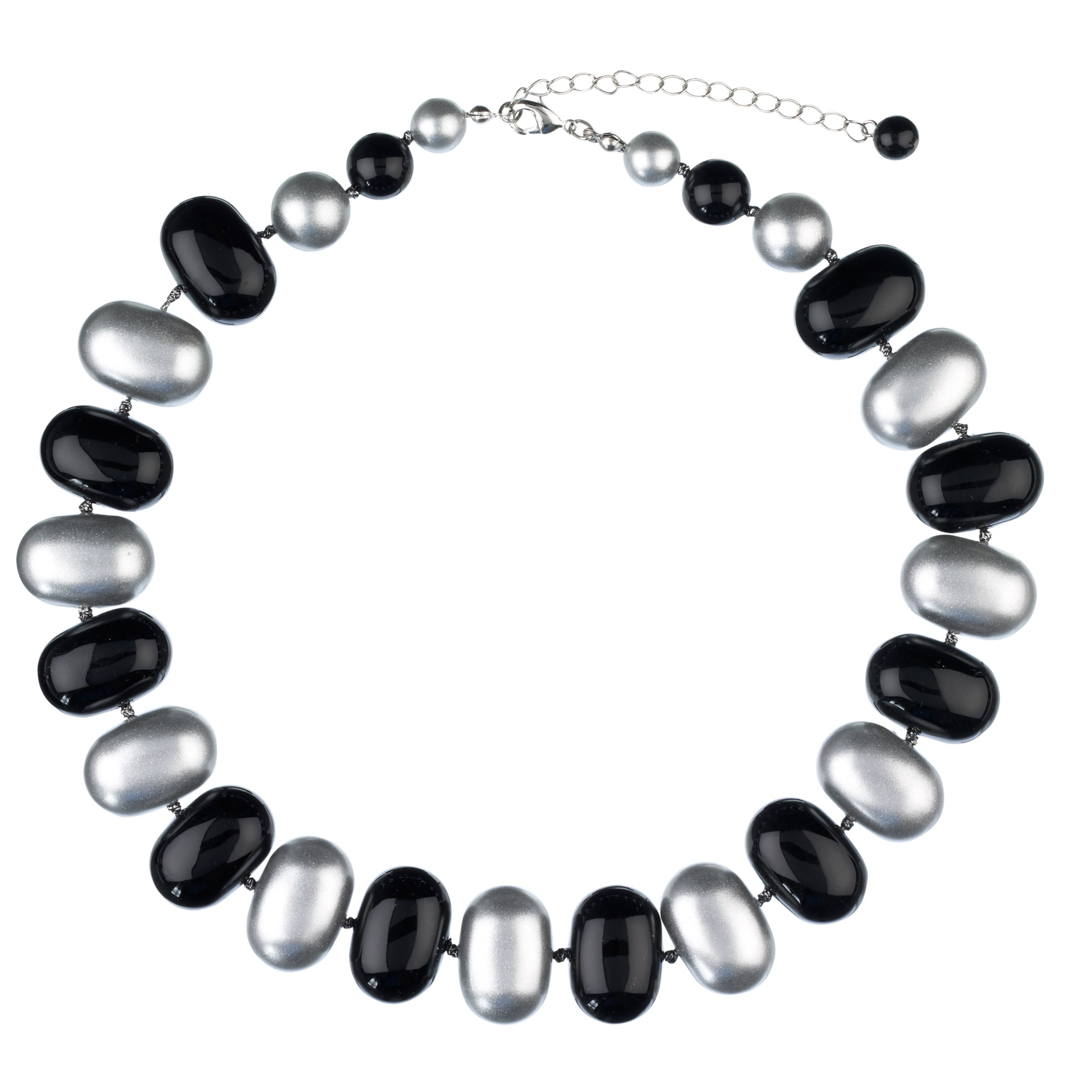 John Lewis Women Acrylic Bead Necklace, Silver/Black