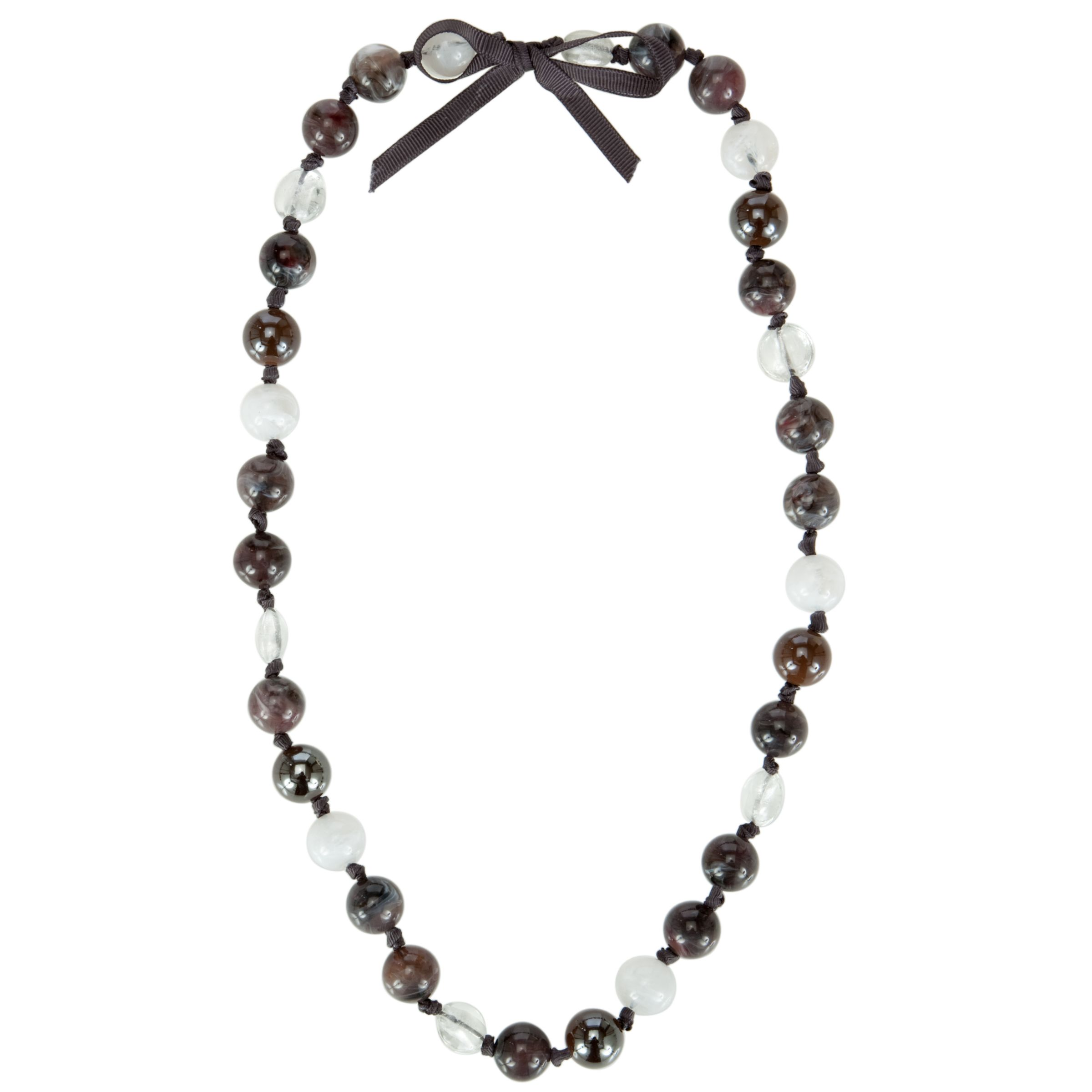 John Lewis Women Multicoloured Bead and Gross Grain Bow Necklace, Black/White