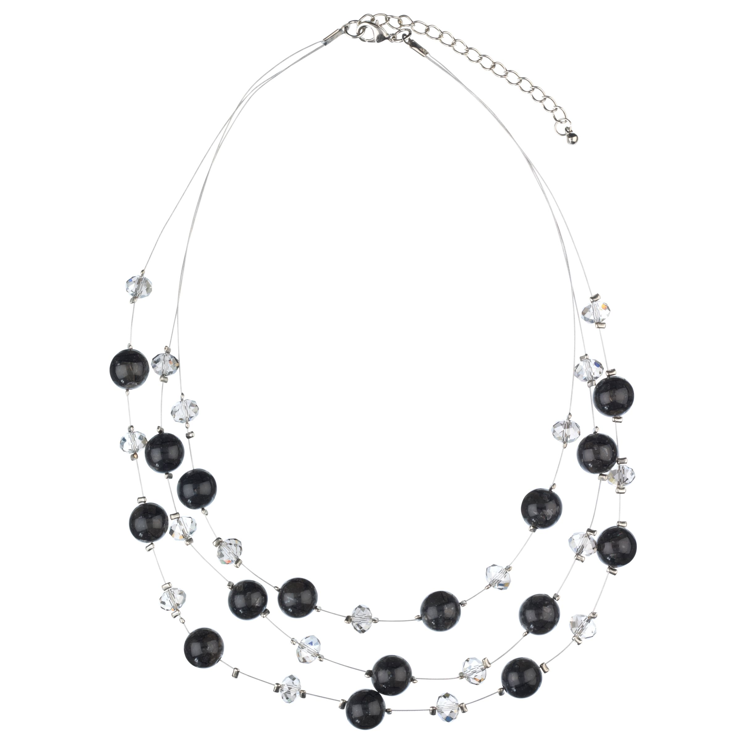 John Lewis Women Tripe Glass Illusion Necklace, Grey