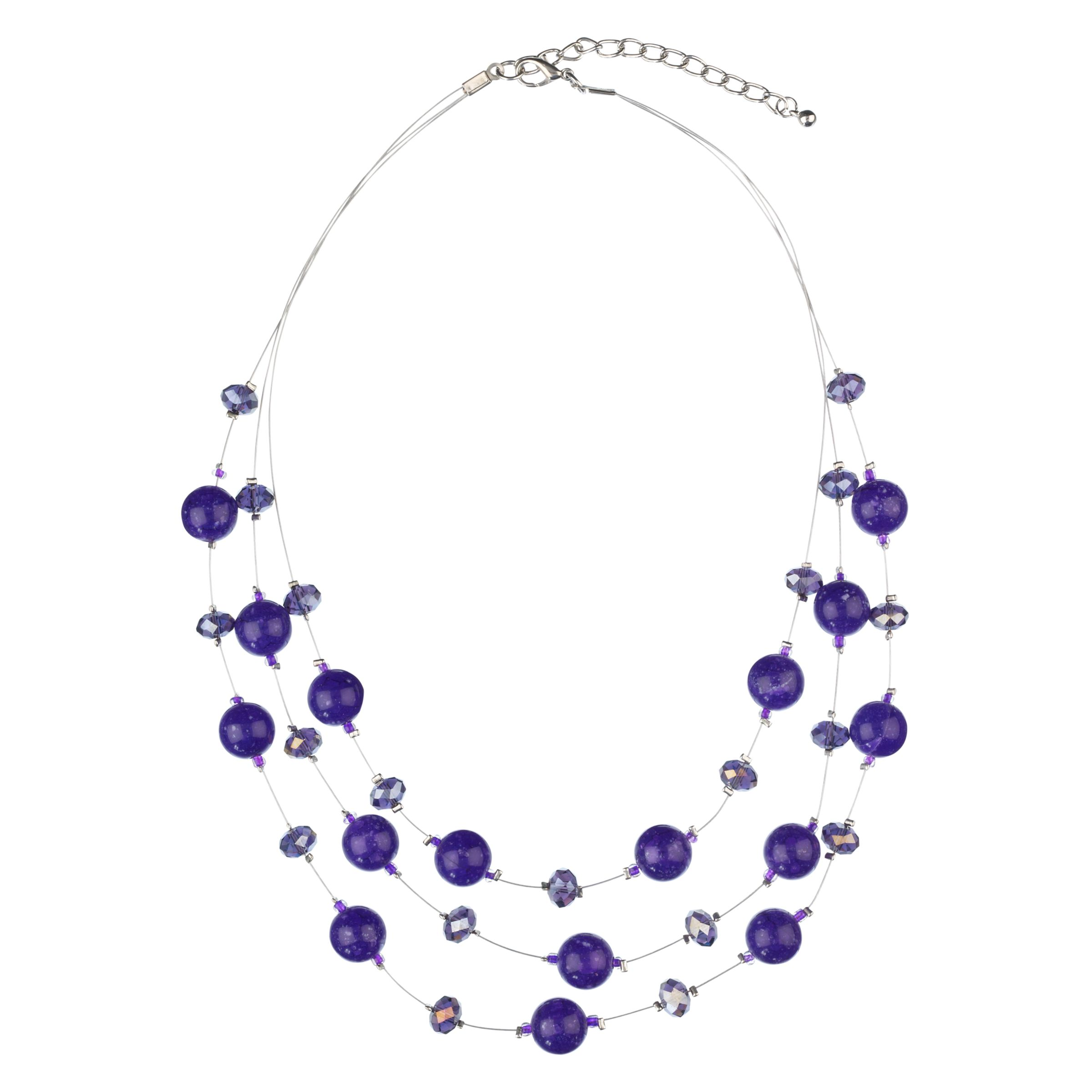 John Lewis Women Tripe Glass Illusion Necklace, Purple