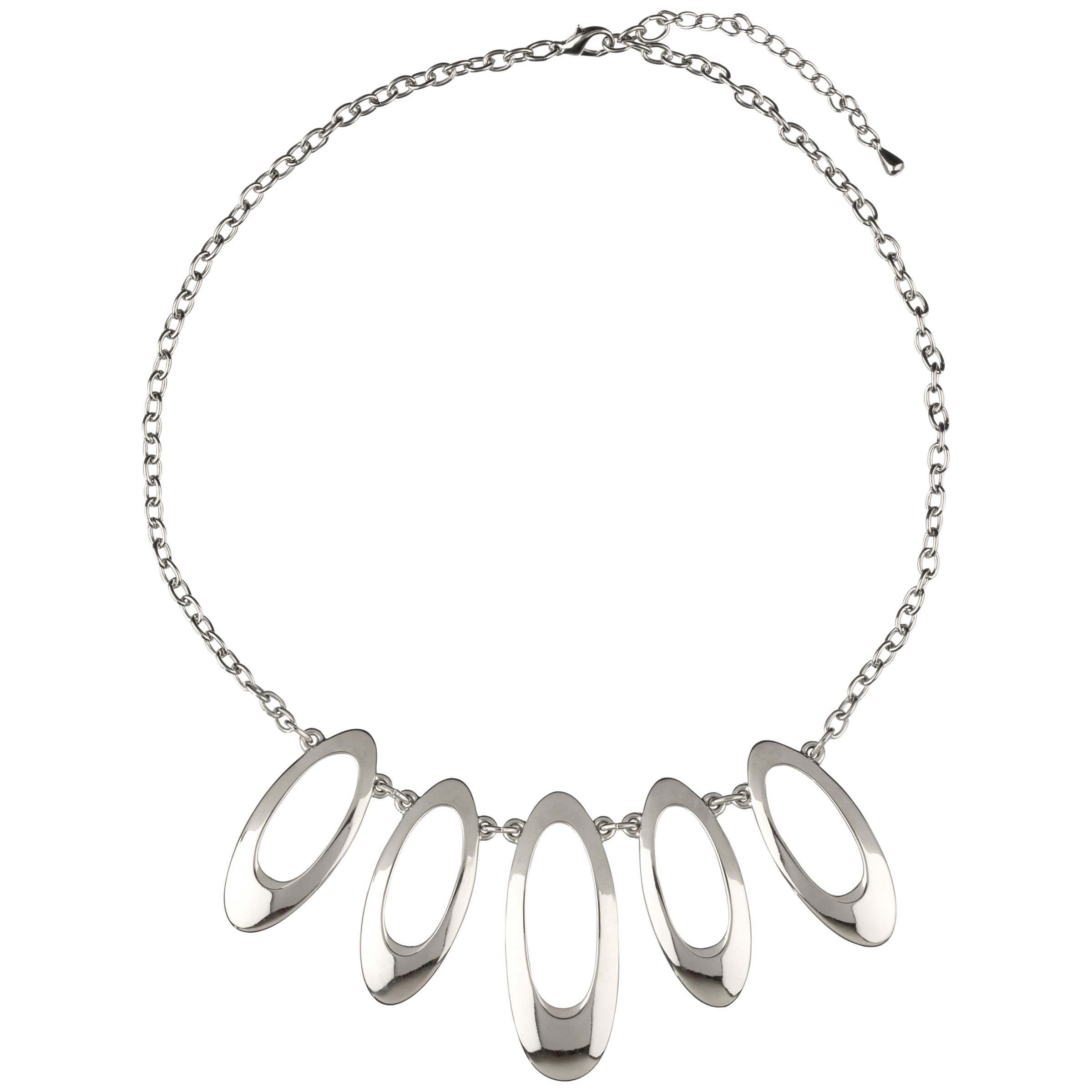 John Lewis Women 5 Oval Necklace, Silver