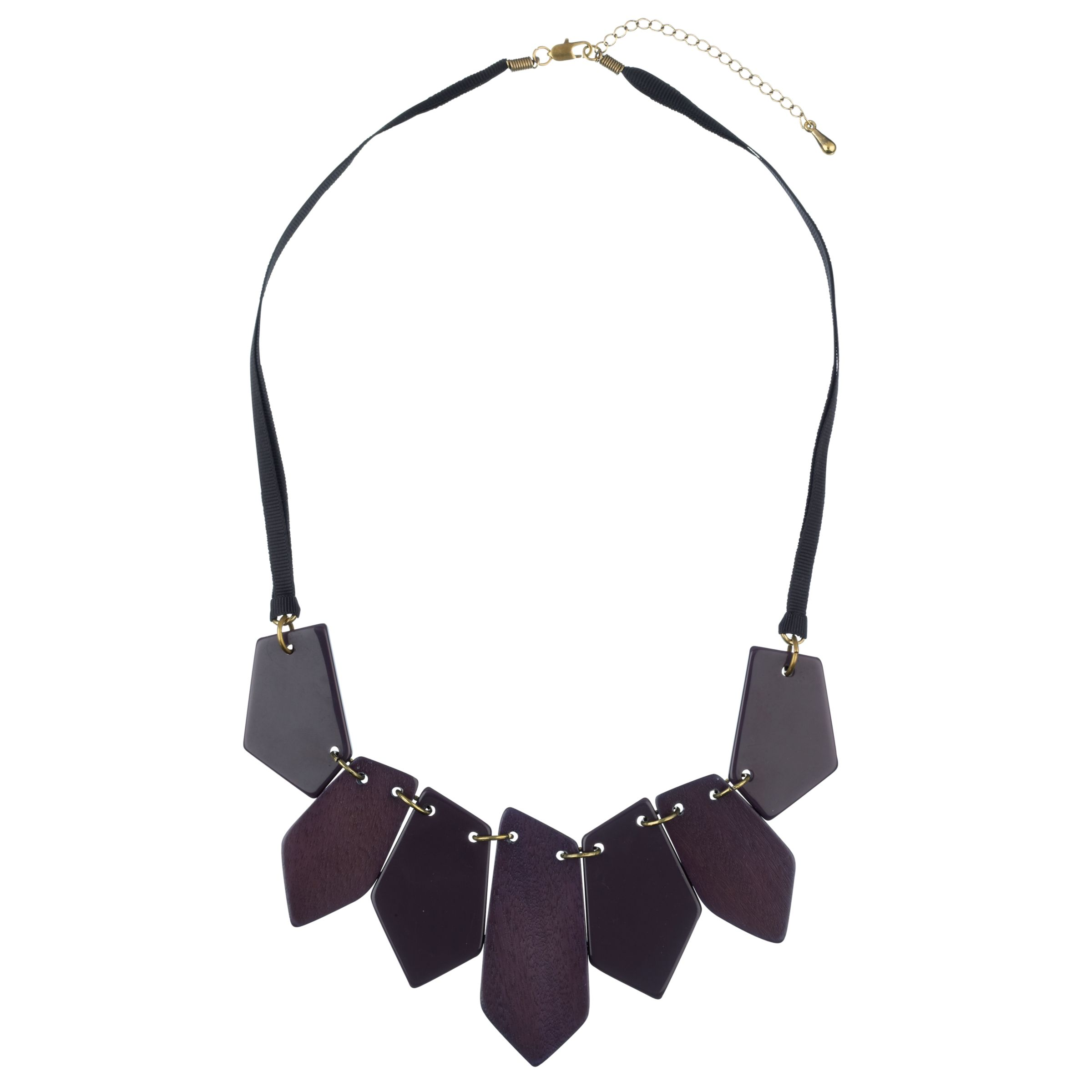 John Lewis Women Purple Statement Wood Necklace