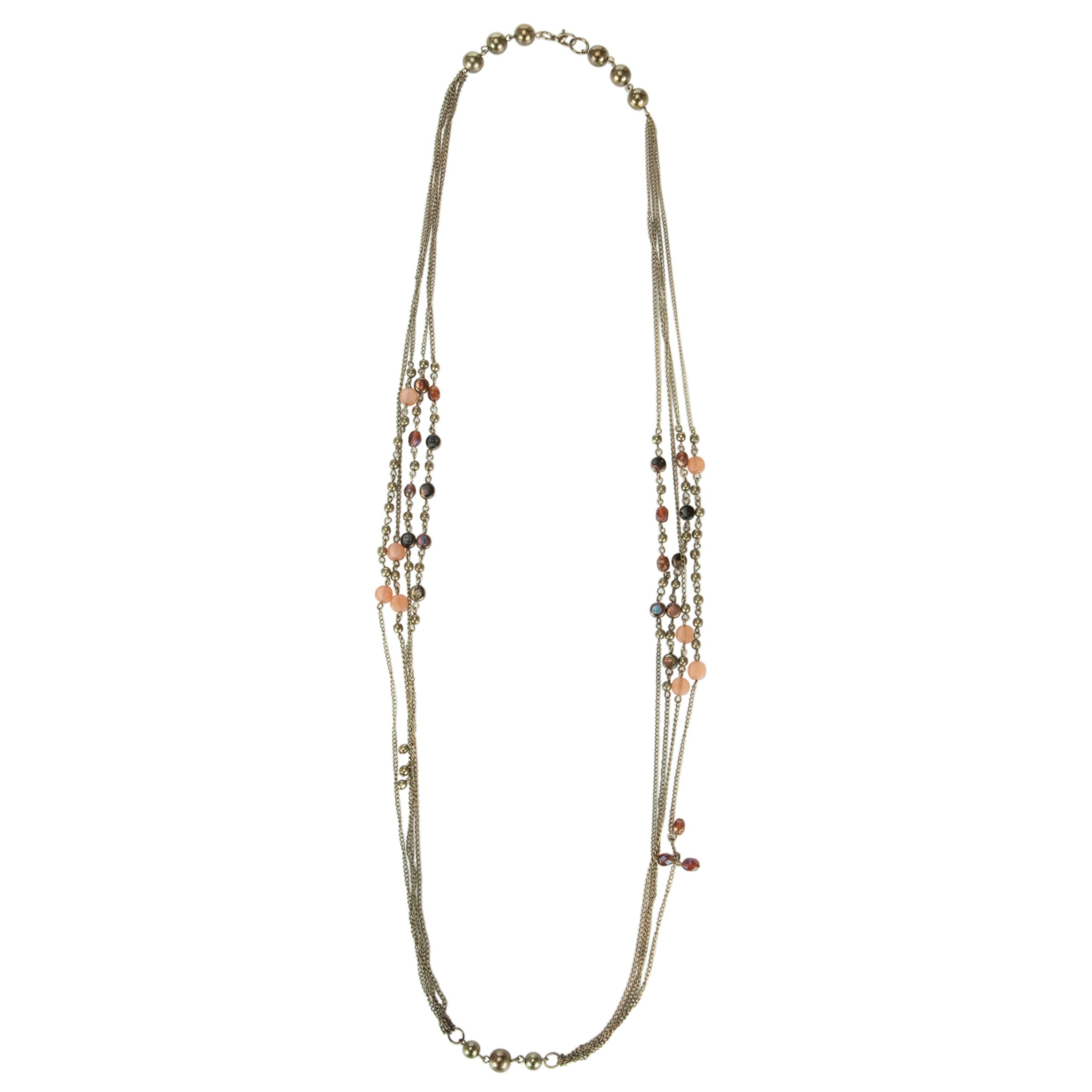 John Lewis Women 4 String Mix Bead Cluster Long Necklace, Multi
