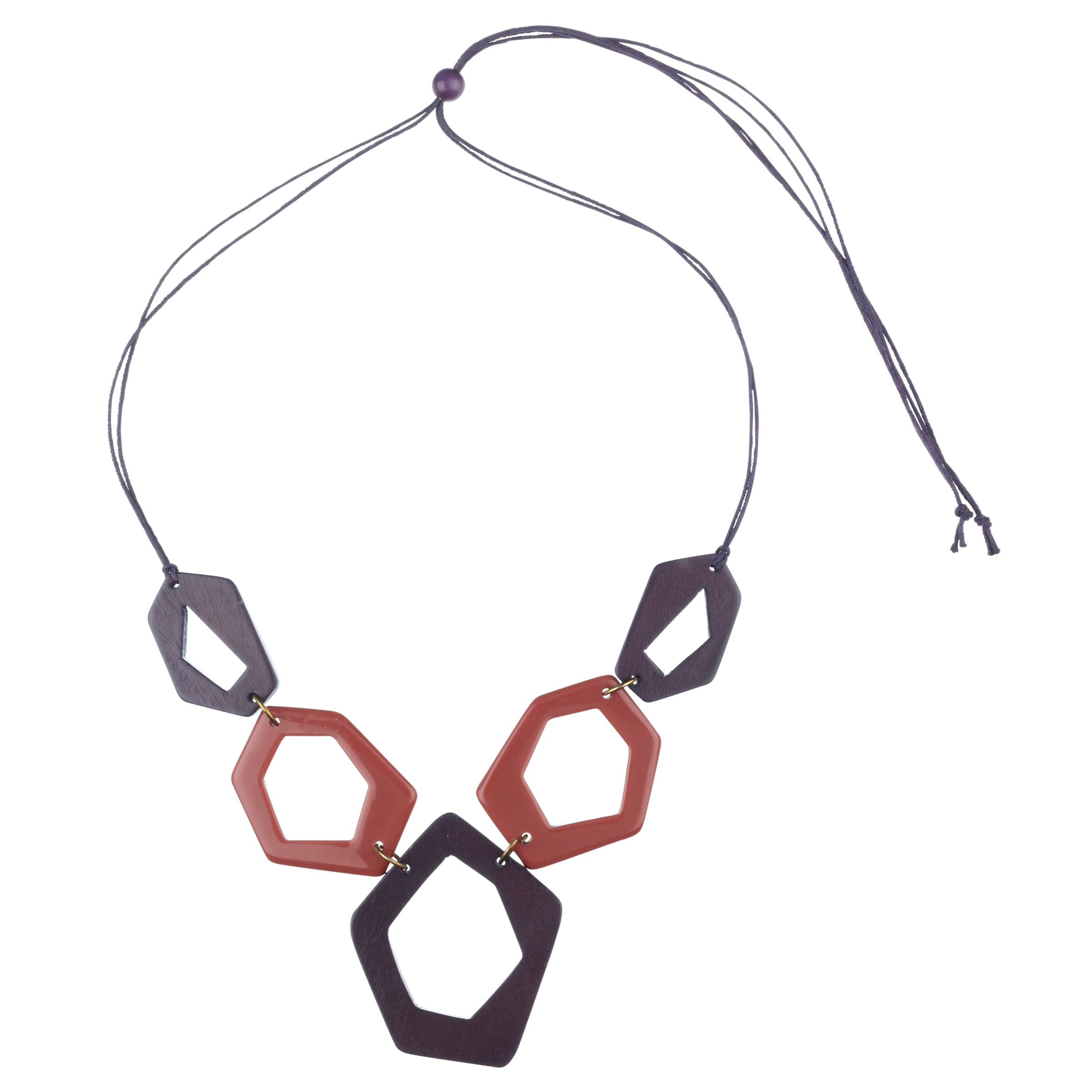 John Lewis Women Open Hexagon Shape Fashion Necklace, Purple