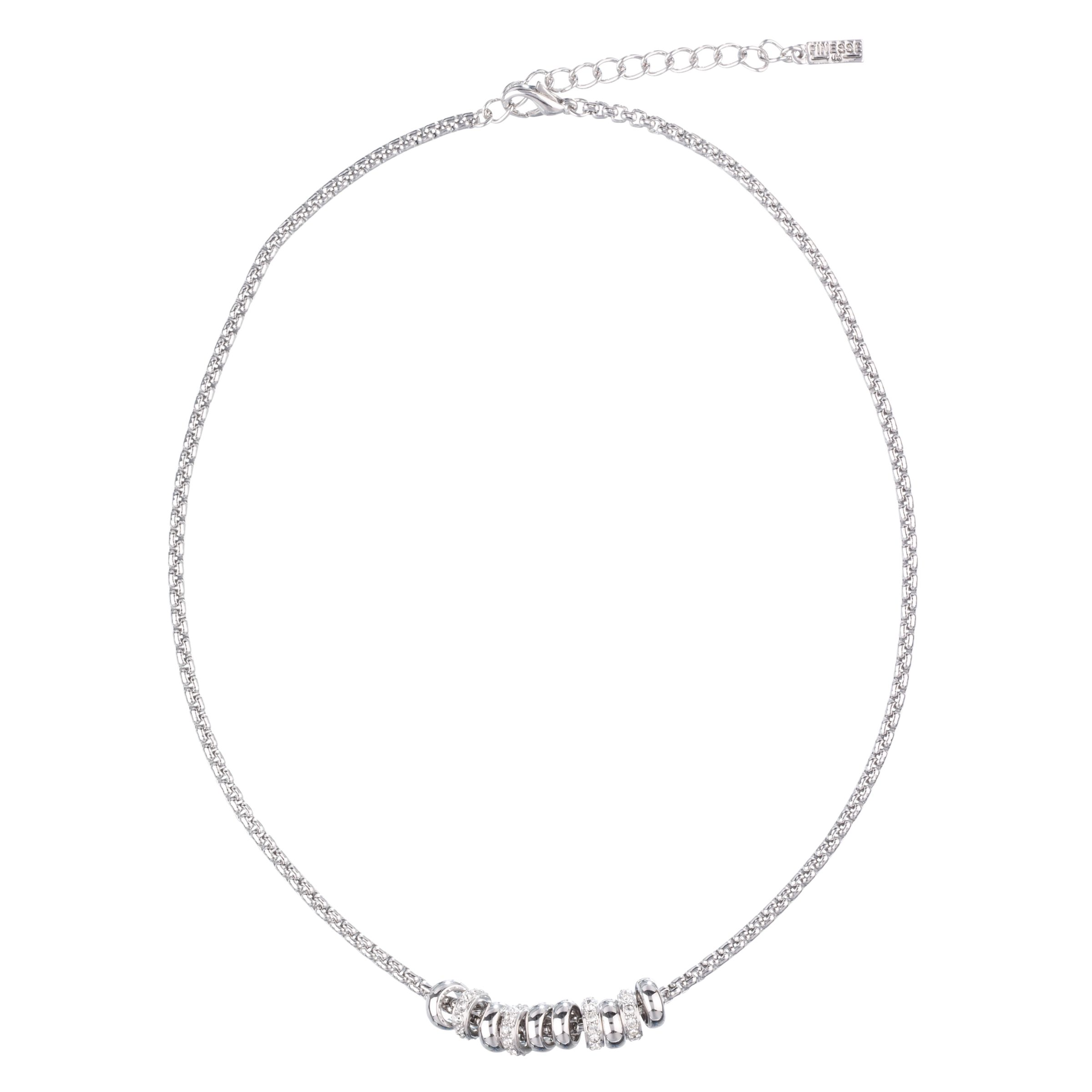 Finesse Rhodium Plated Crystal Ring Necklace