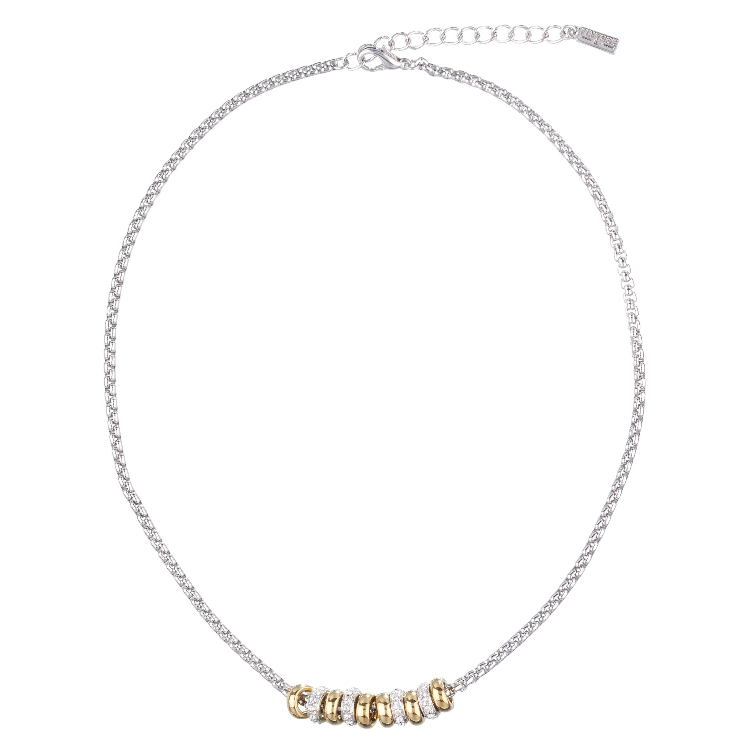 Finess Two Tone Crystal Ring Necklace