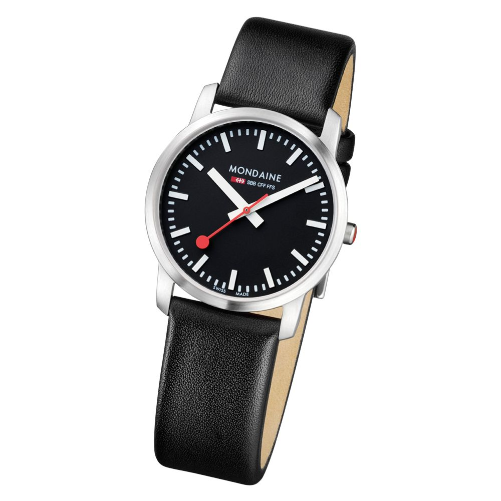 Mondaine A6723035114SBB Ladies Simply Elegant Black Dial Leather Strap Watch