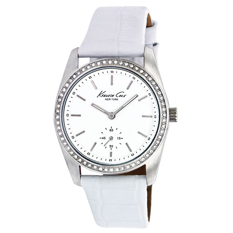 Kenneth Cole KC2604 Ladies White Stone Set Leather Strap Watch