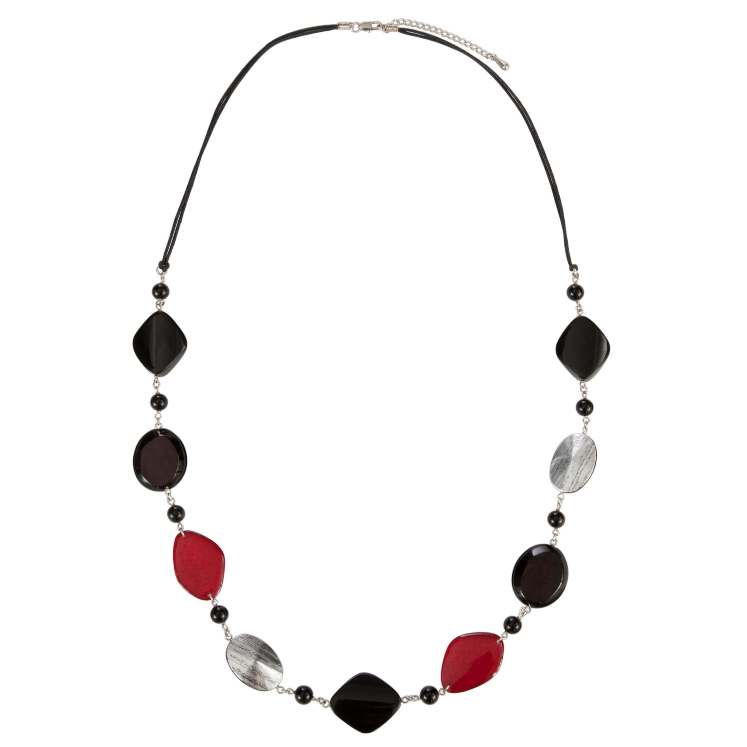 John Lewis Women Square and Oval Bead Cord Necklace, Red/Black