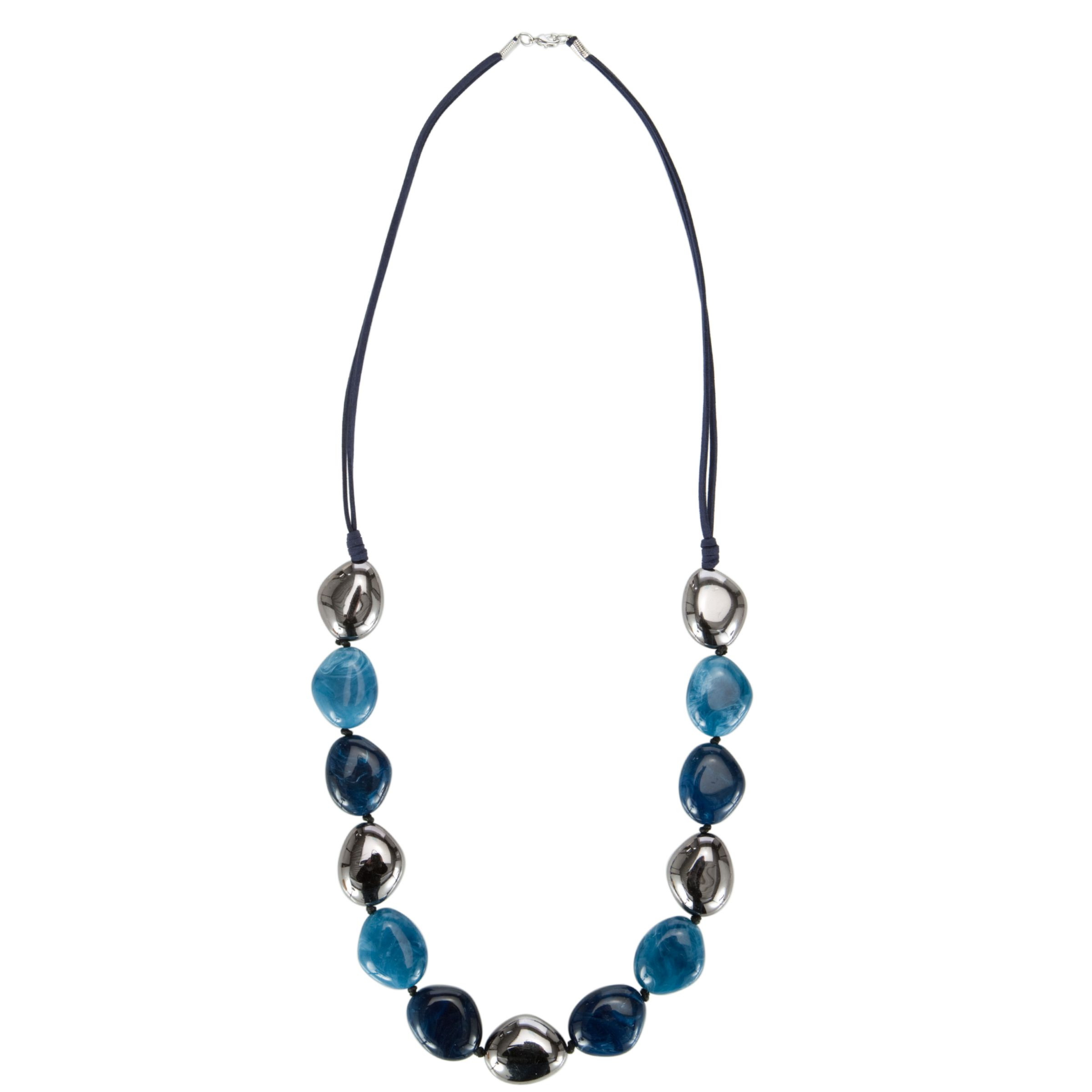 John Lewis Women Blue Bead and Suede Long Necklace, Blue