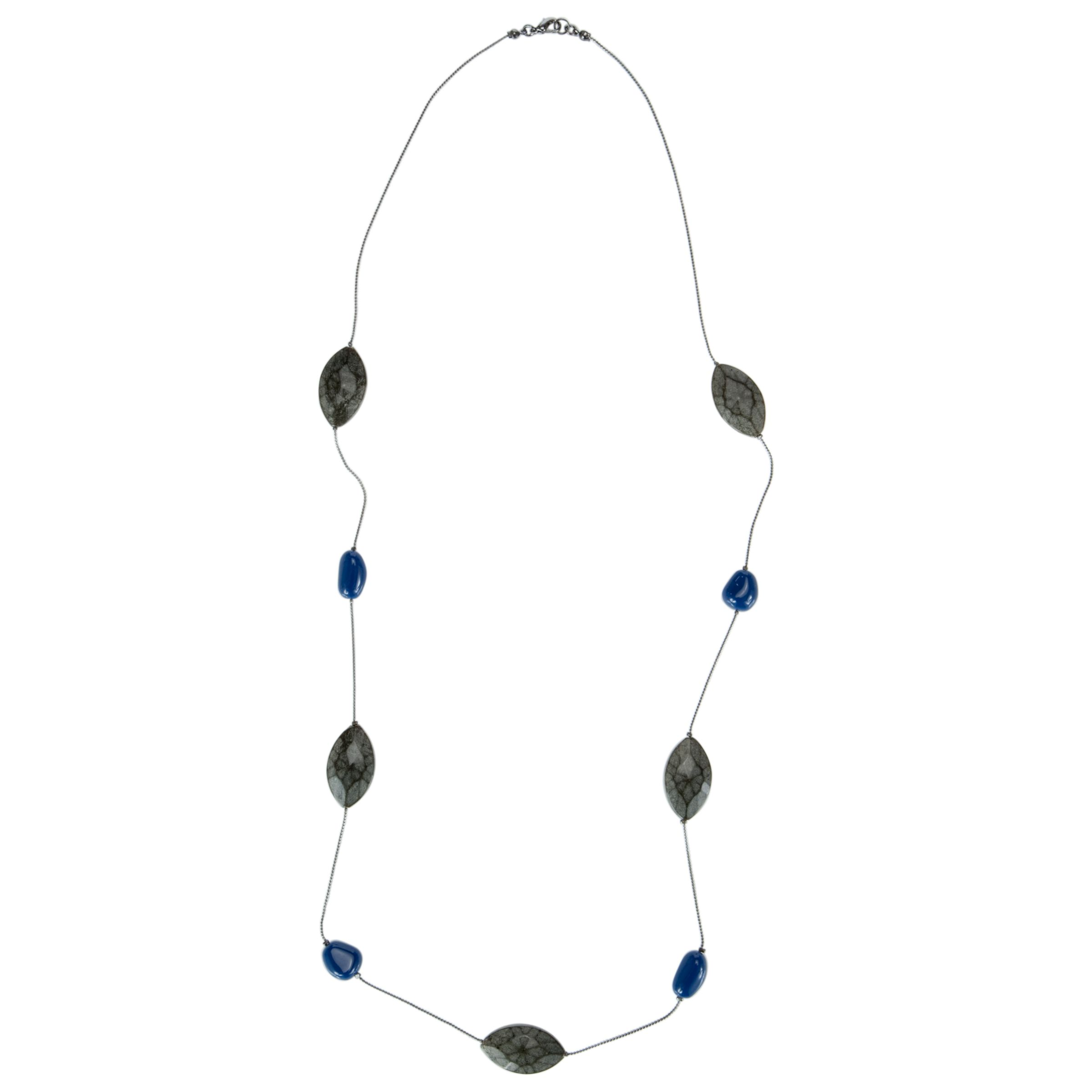 John Lewis Women Blue Open Space Facet Long Necklace, Blue