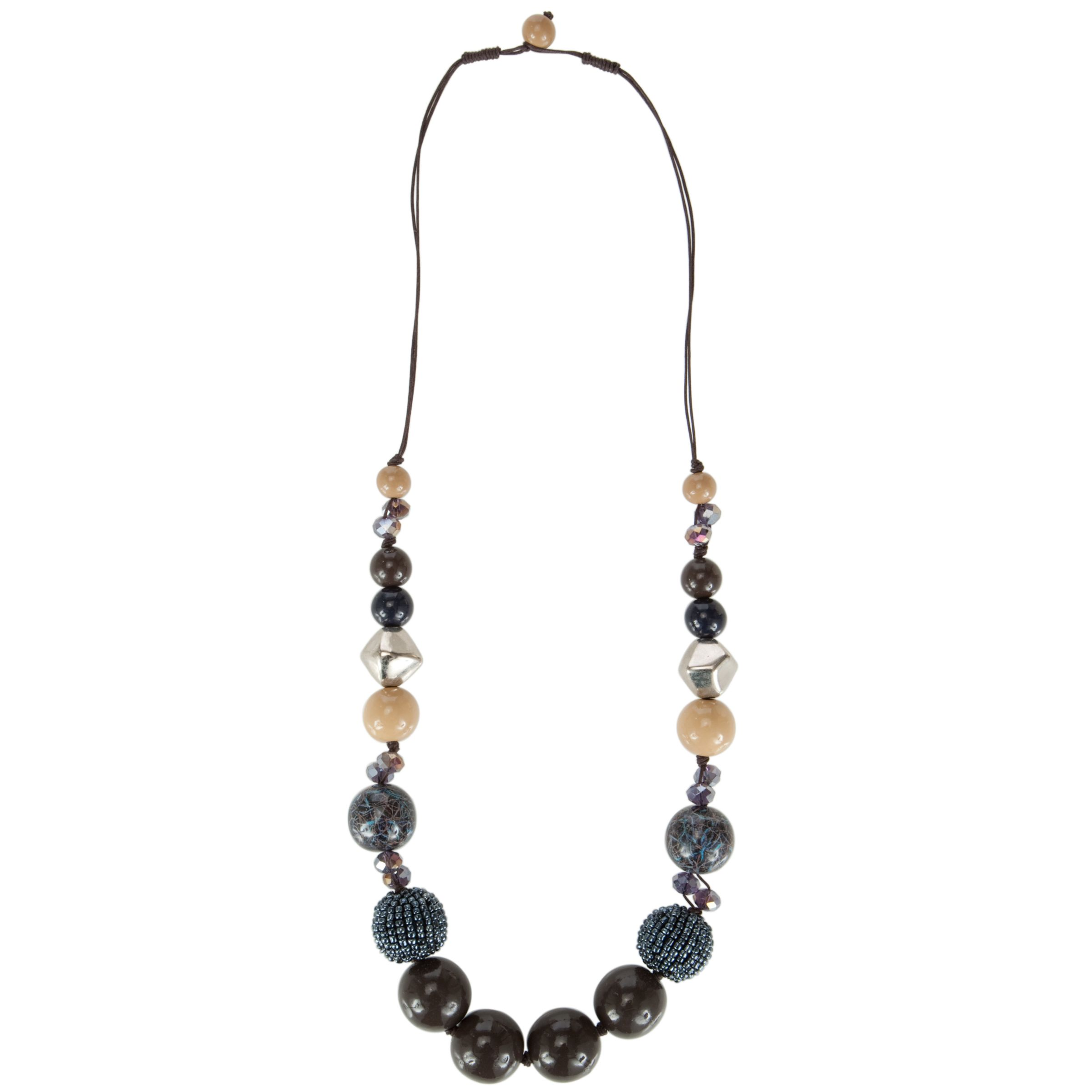 John Lewis Women Multicoloured Bead Long Necklace, Blue/Cream/Navy