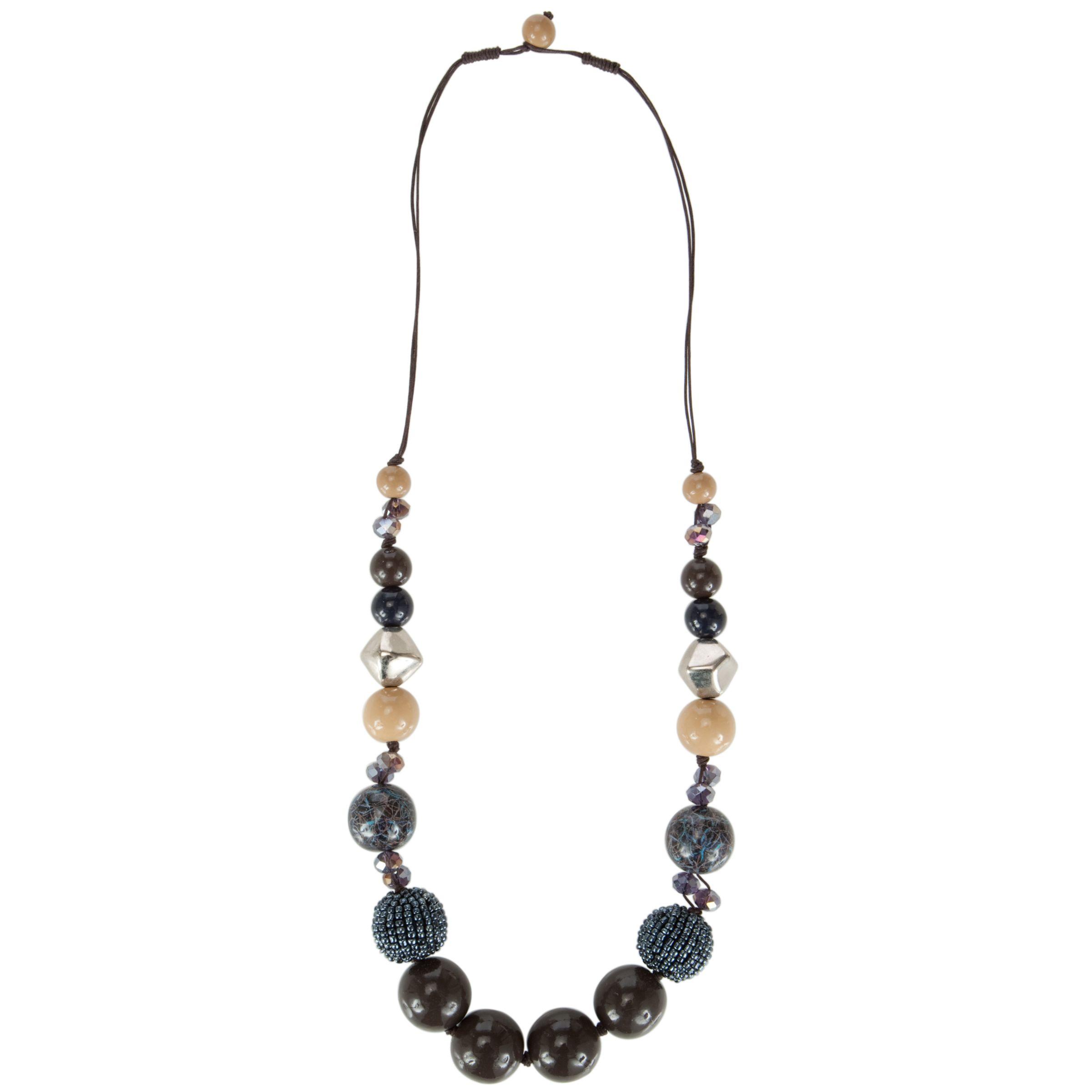 John Lewis Women Multicoloured Bead Long Necklace, Blue/Cream/Navy