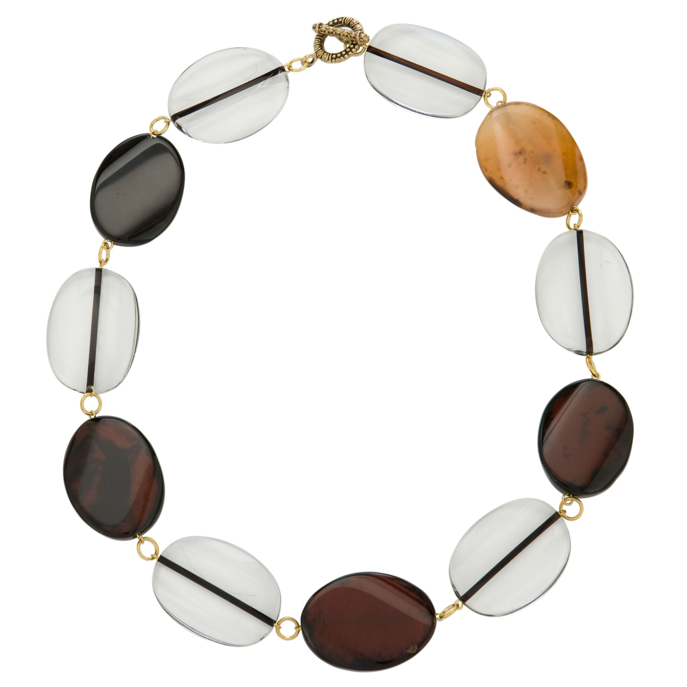 John Lewis Oval Acrylic Bead Necklace, Brown