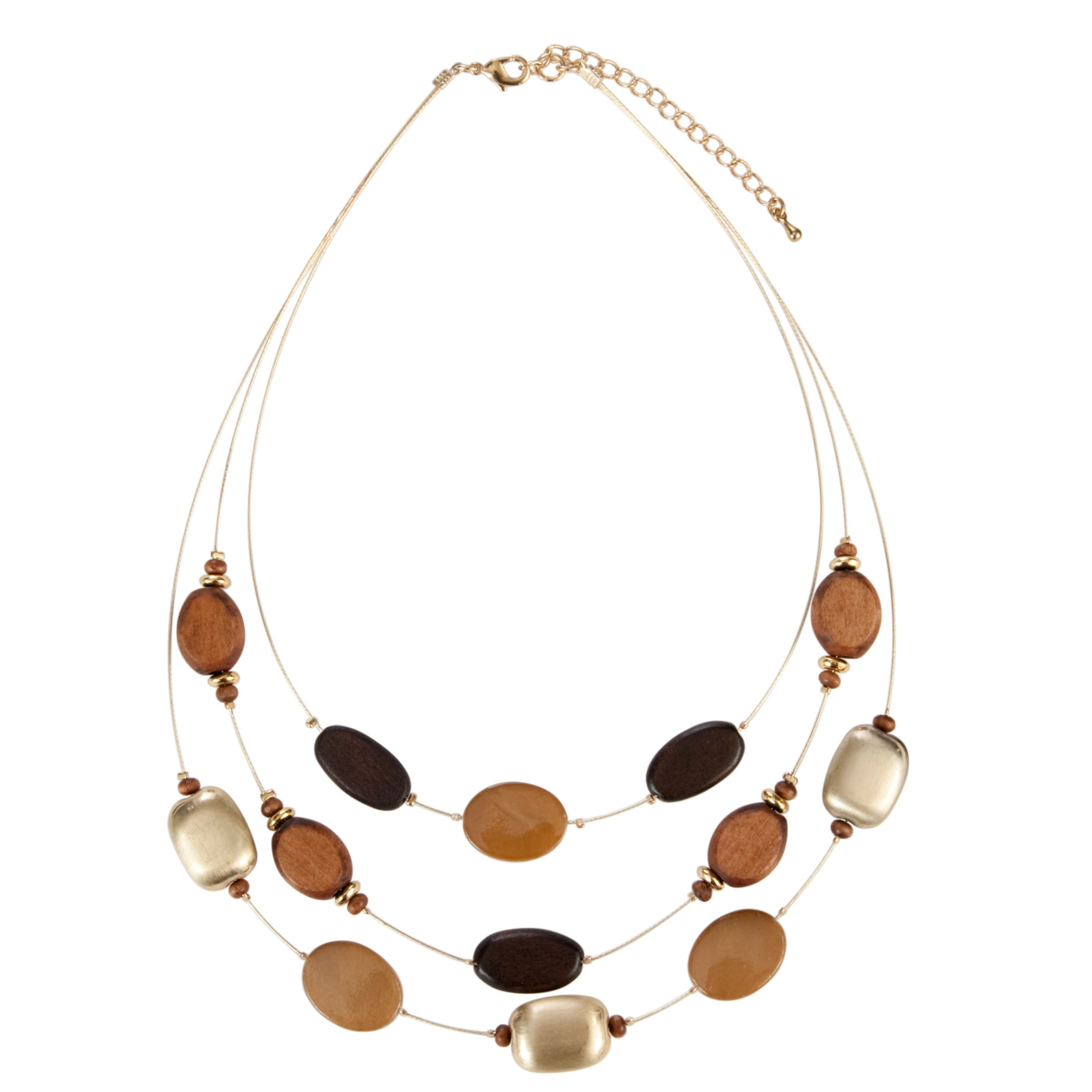 John Lewis Nordic Illusion Strand Necklace, Brown/Gold