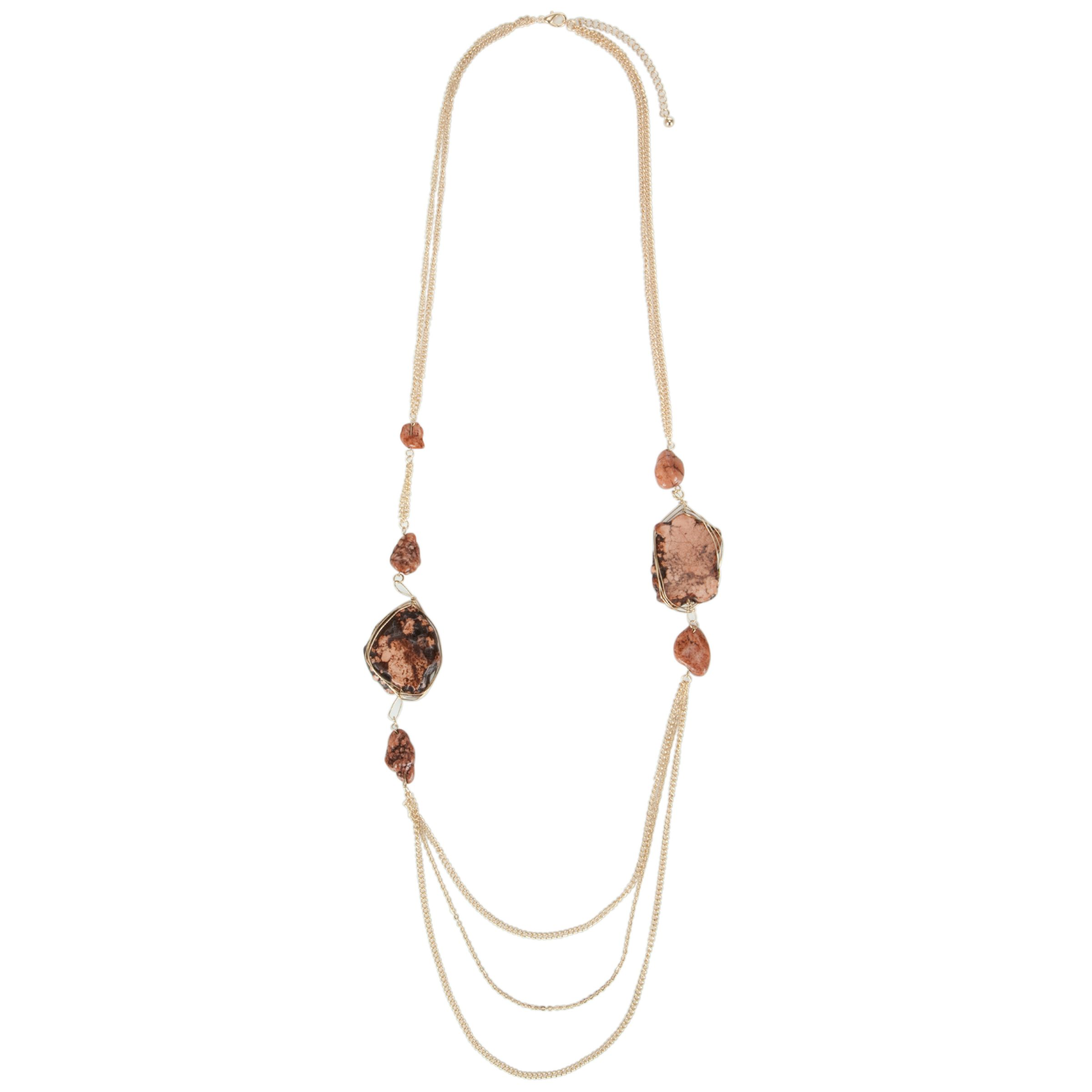 John Lewis Women Gold Tone Chain and Brown Stone Long Necklace