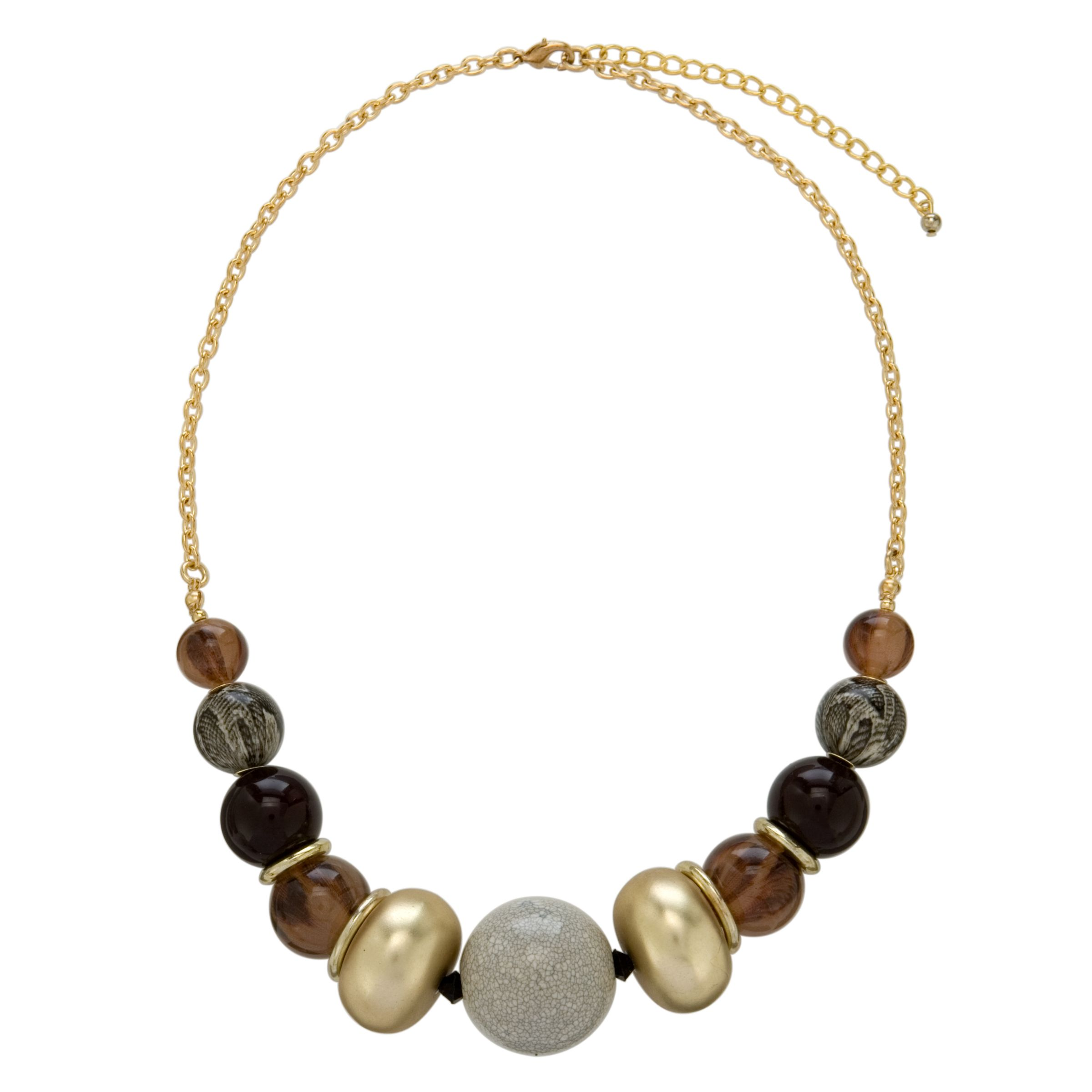 John Lewis Women Gold Chain Multi Bead Necklace
