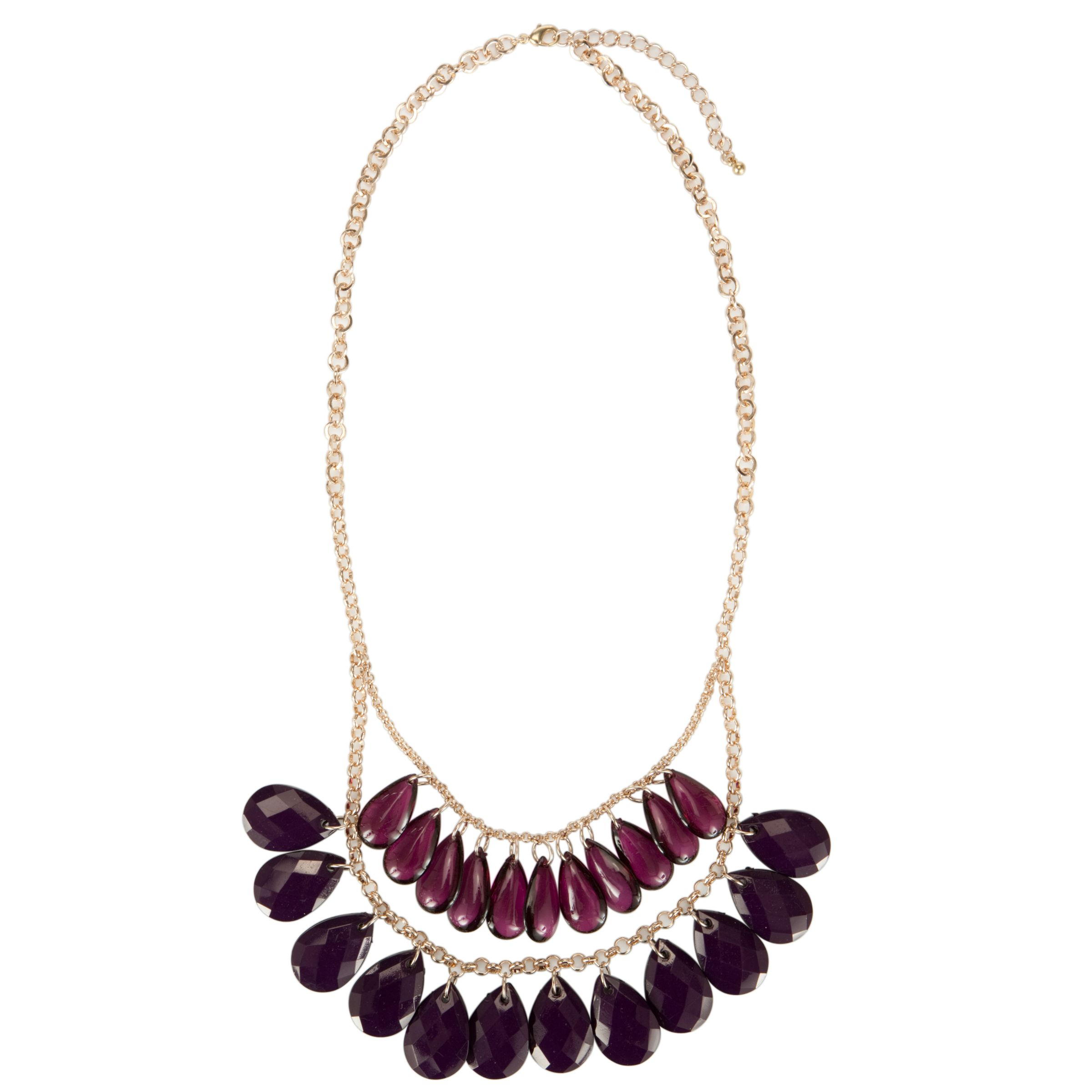 John Lewis Women Purple Double Lay Facet Bead Necklace, Purple