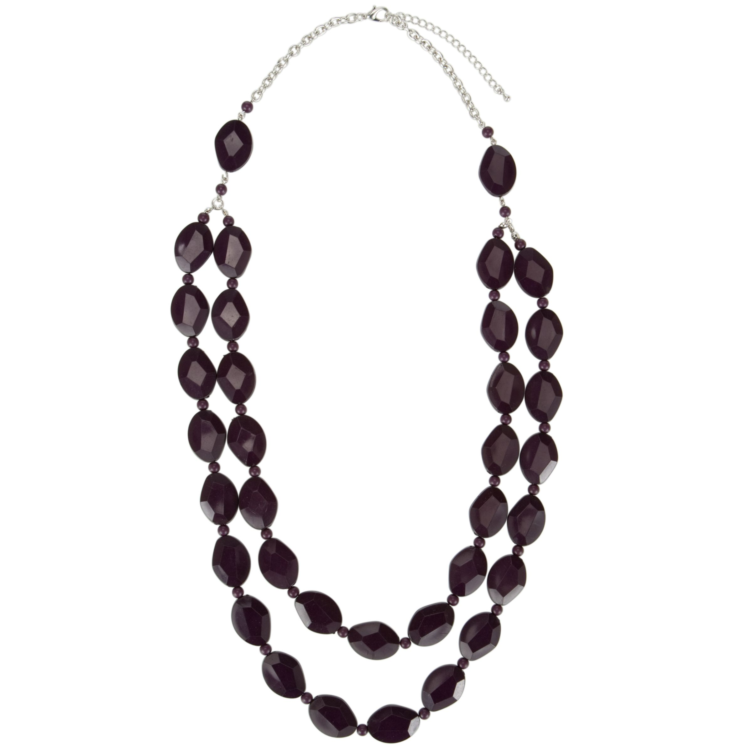 John Lewis Women Double Strand Multifaceted Bead Necklace, Purple
