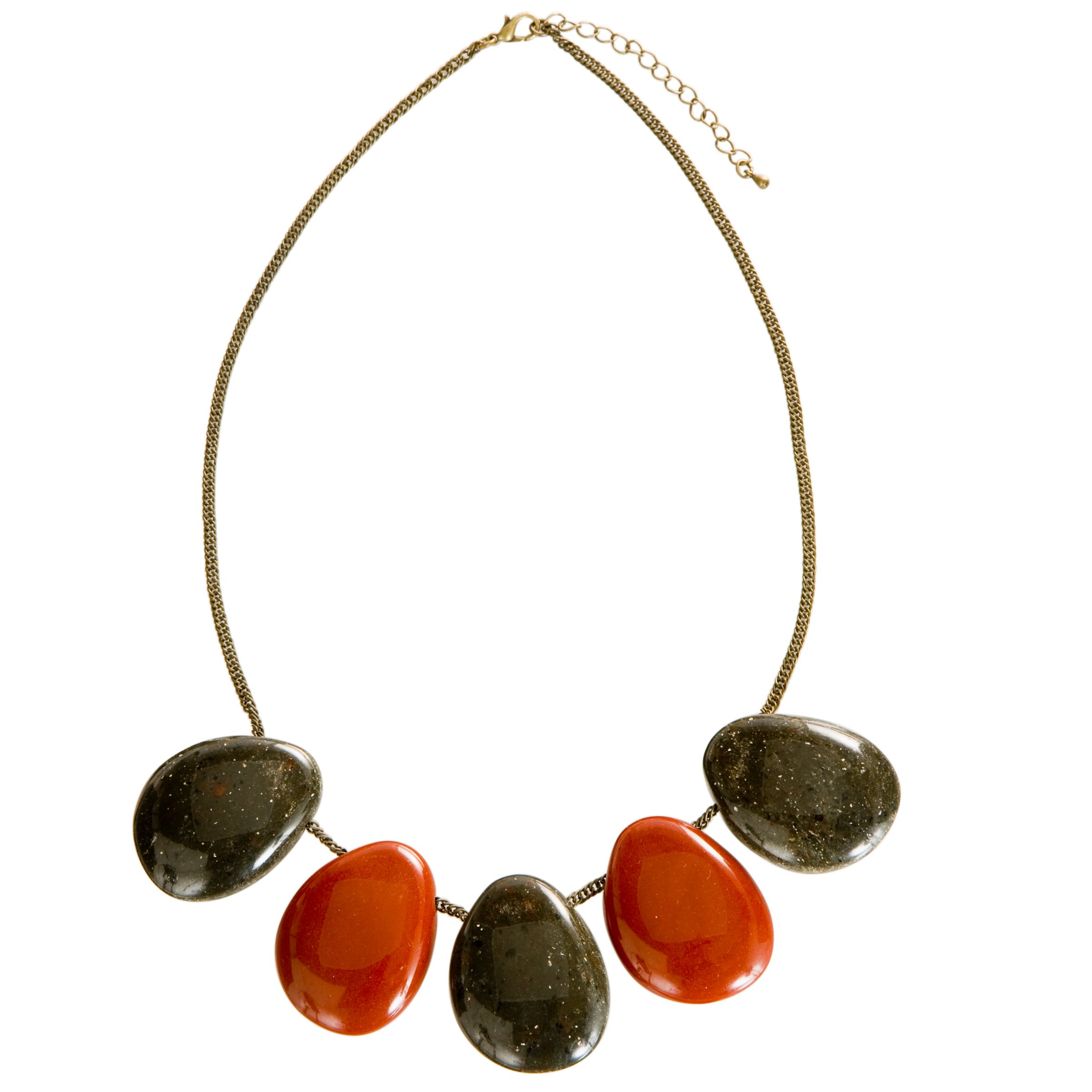 John Lewis Nordic Red 5 Smooth Pebble Short Necklace, Paprika/Grey