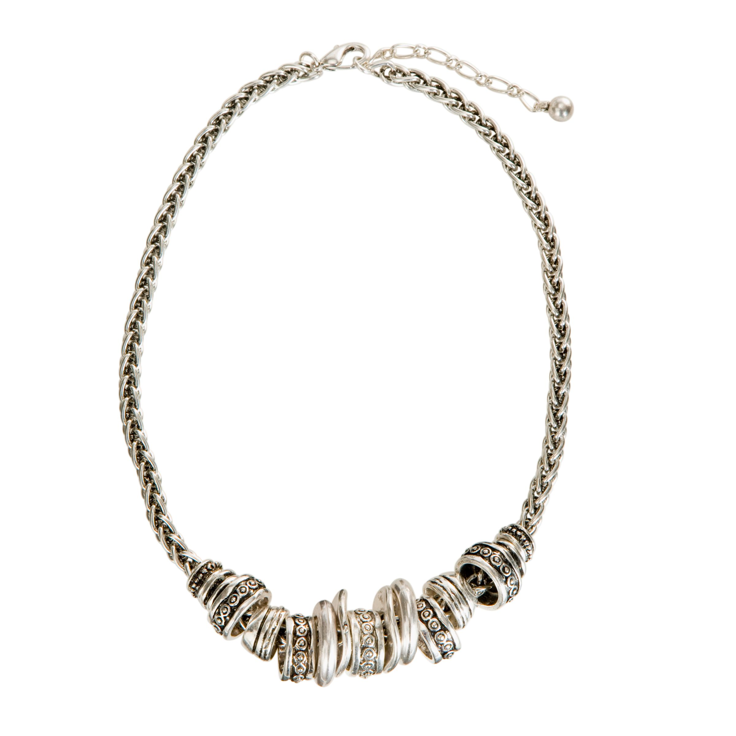 John Lewis Nordic Assorted Hoops Necklace, Silver