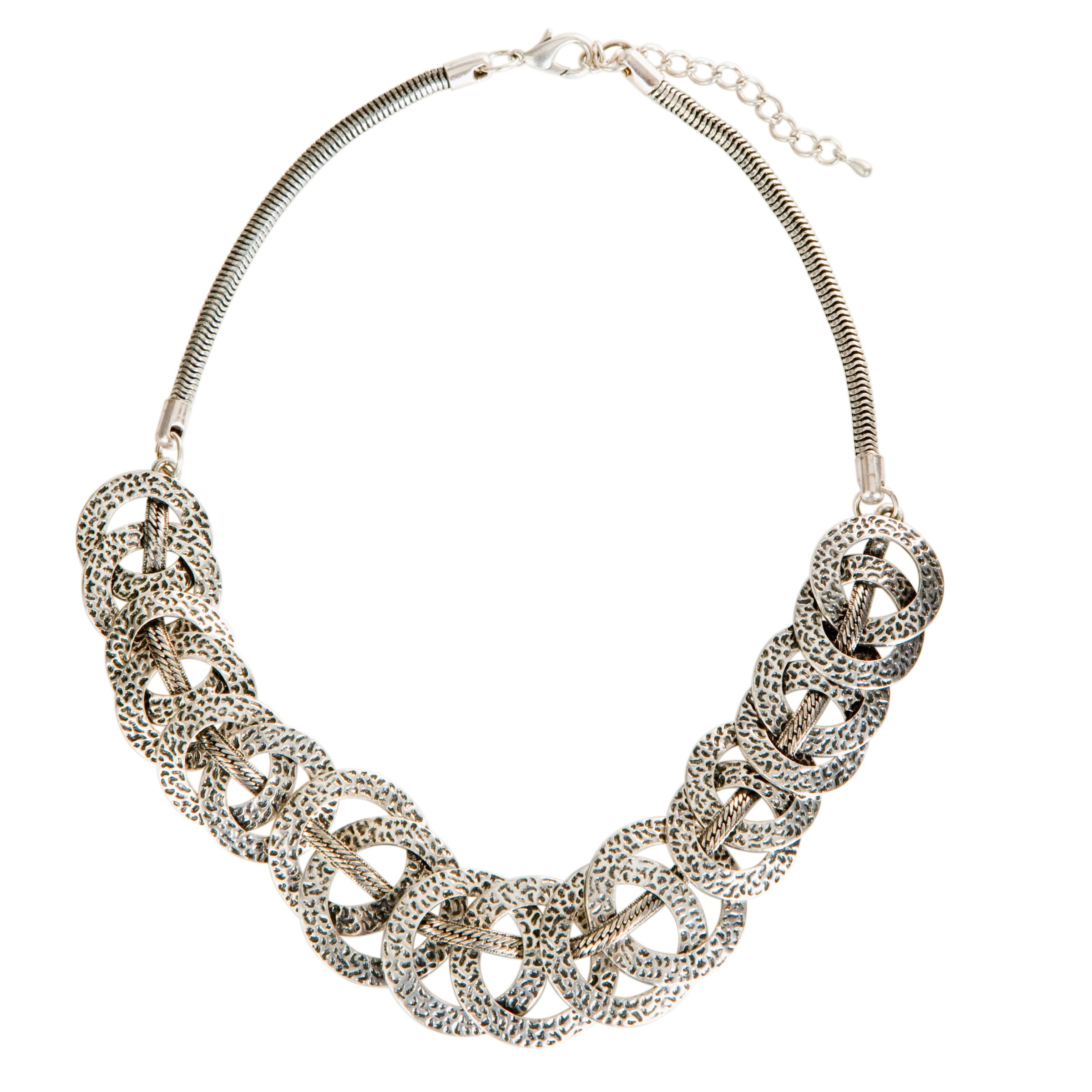 John Lewis Nordic Dimpled Hoops Necklace, Silver
