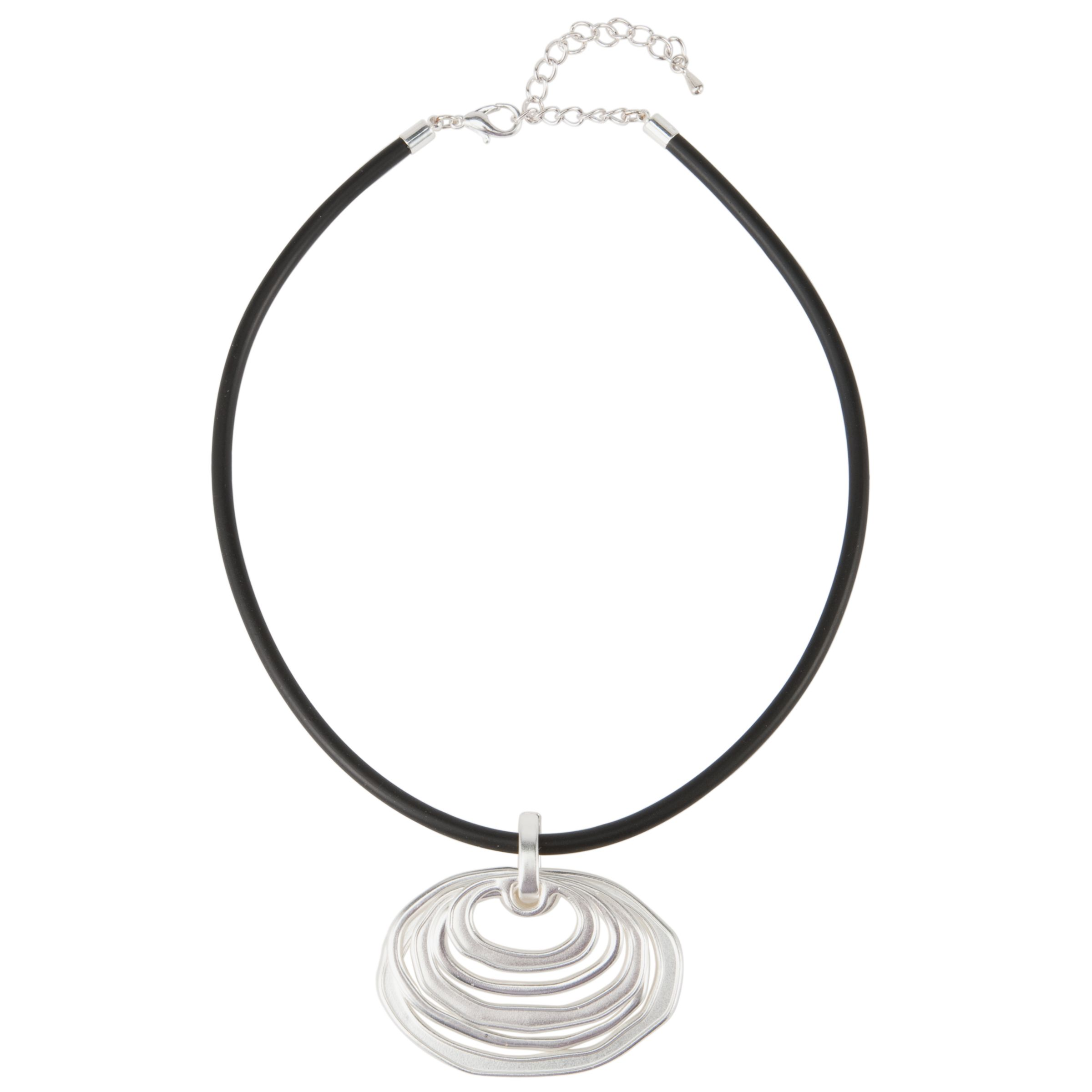 John Lewis Women Brushed Silver 5 Hoop Pendant Necklace, Silver
