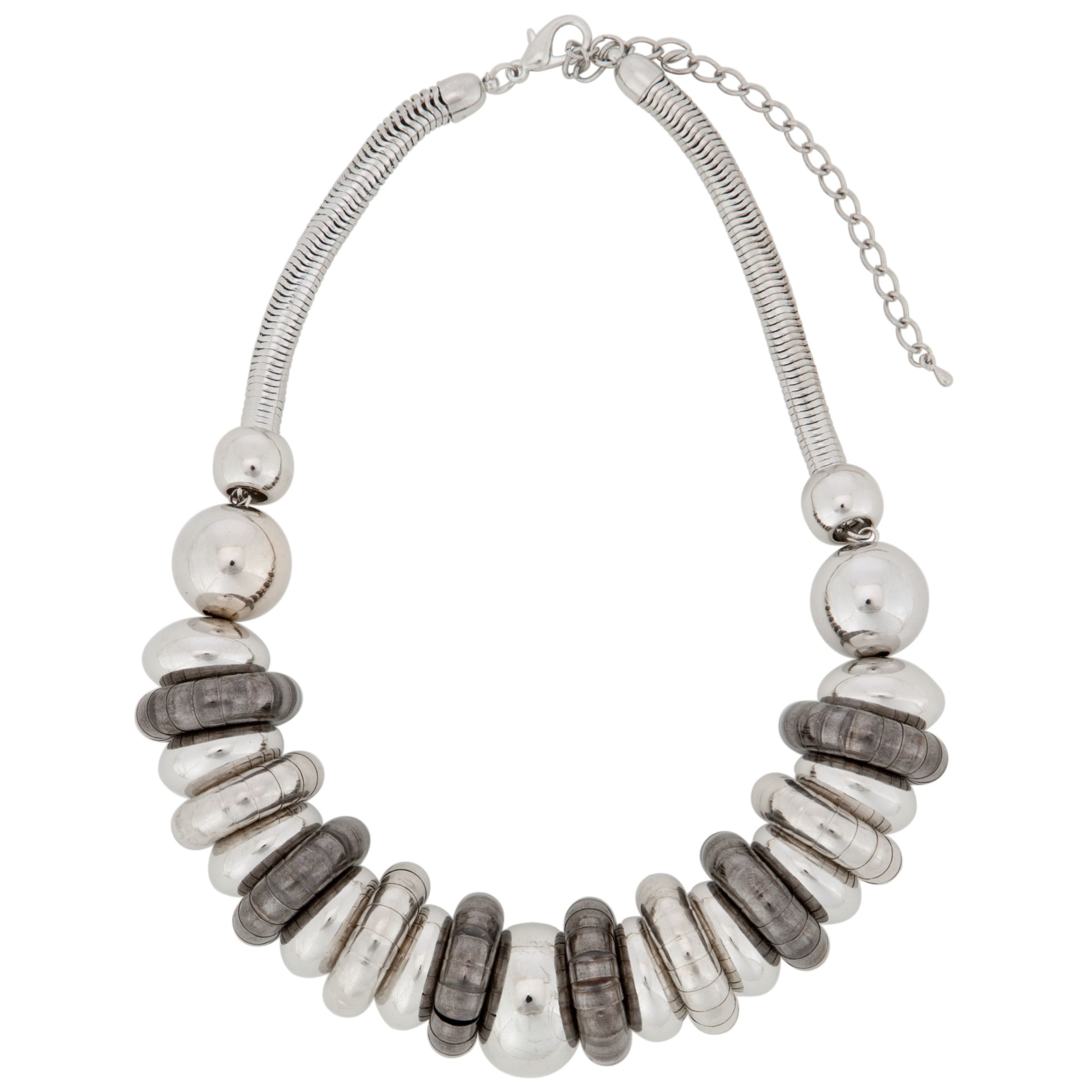 John Lewis Nordic Snake Rings Short Necklace, Gun Metal