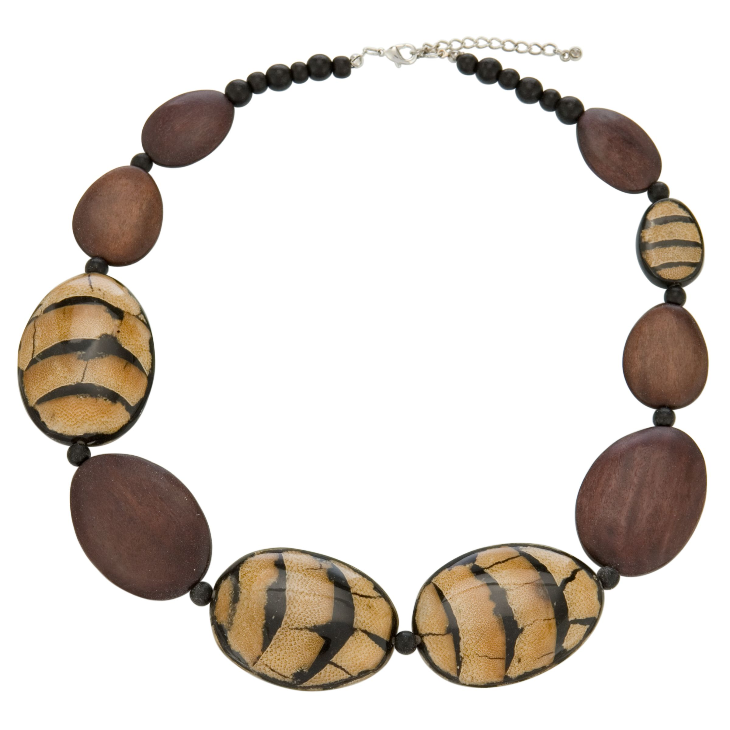 John Lewis Women Wood And Animal Large Bead Necklace
