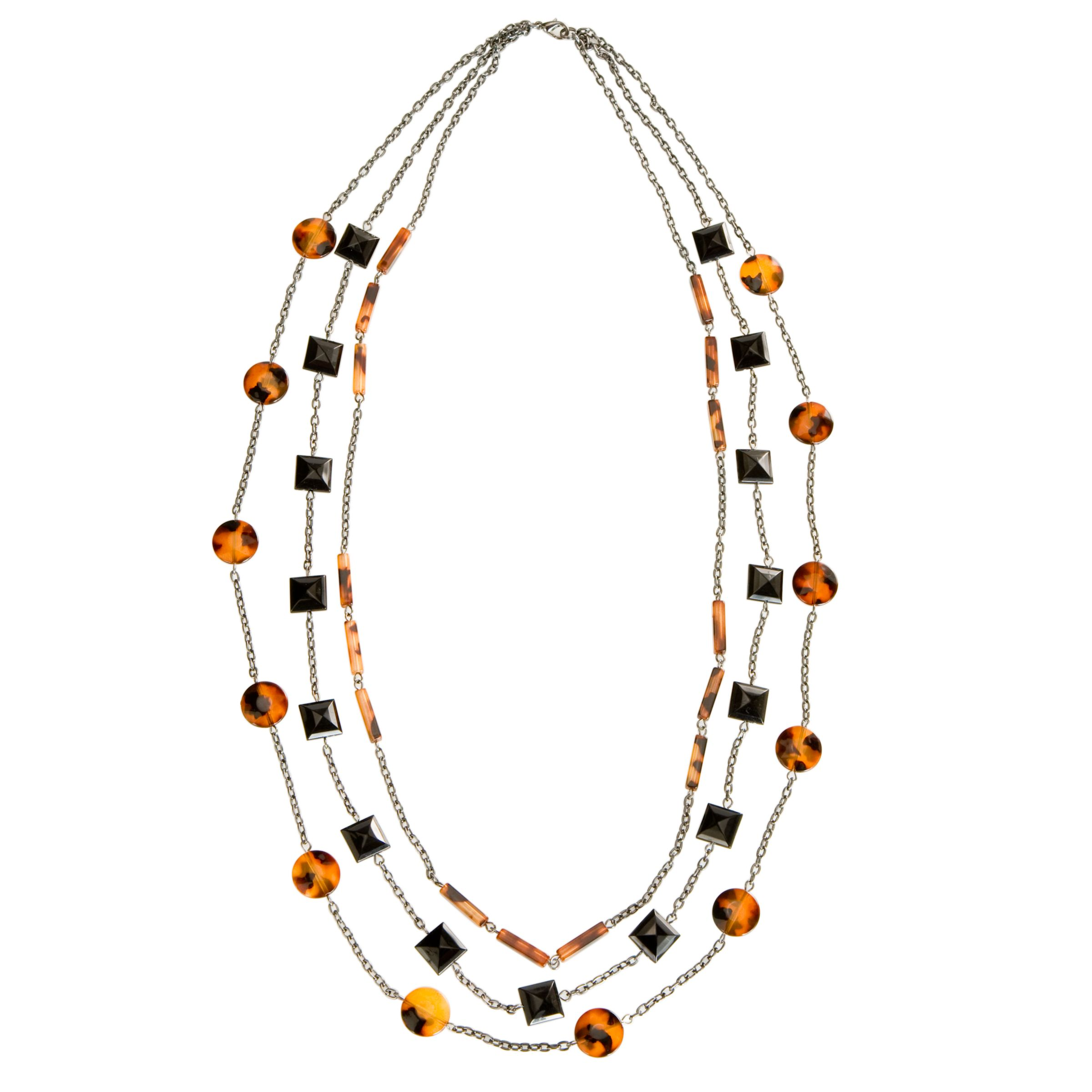 John Lewis Nordic 3 Chain Square Circle and Rectangle Beaded Necklace, Hemp/Black/Tortoise