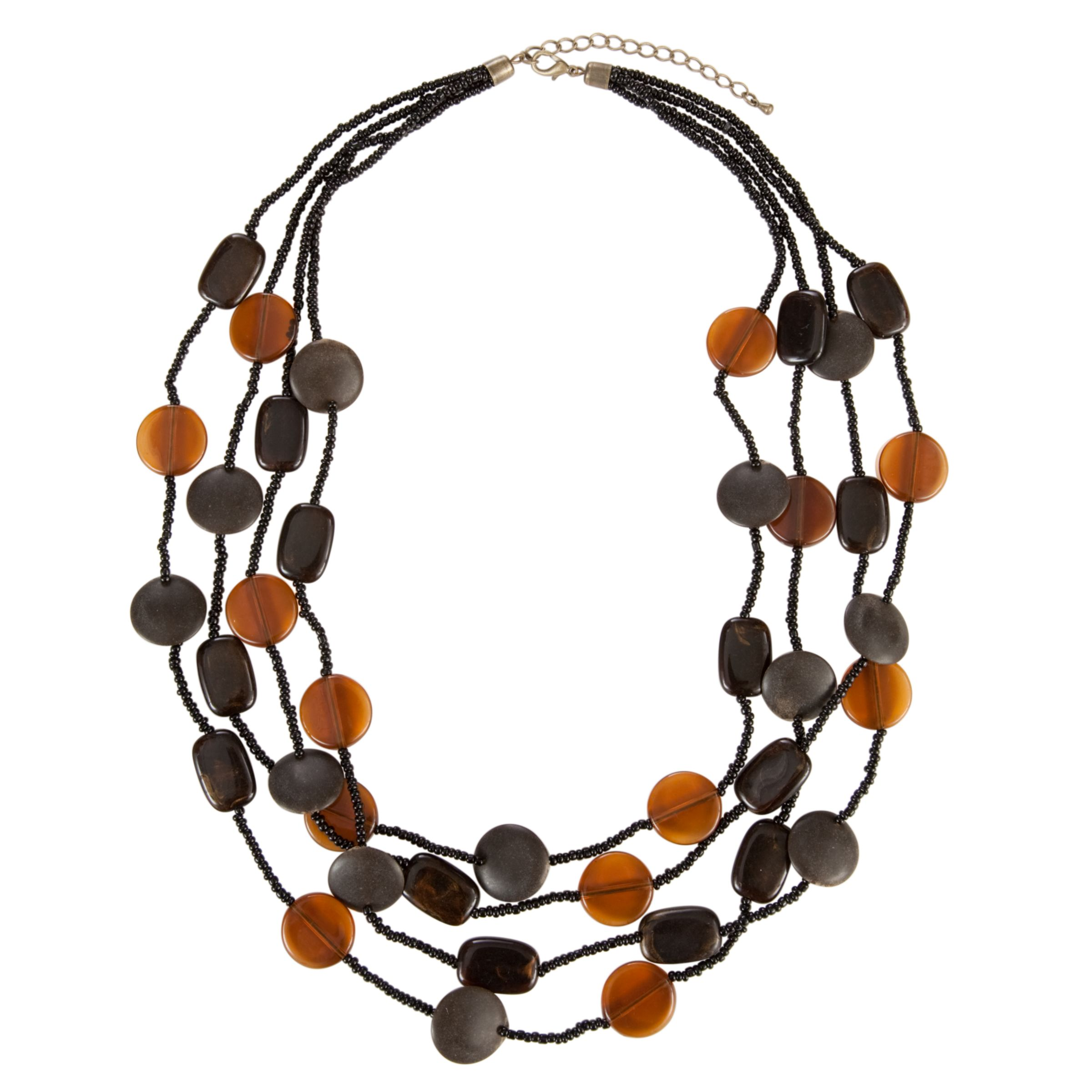 John Lewis Nordic 4 Strand Seed Beaded Wood and Acrylic Necklace, Black/Amber