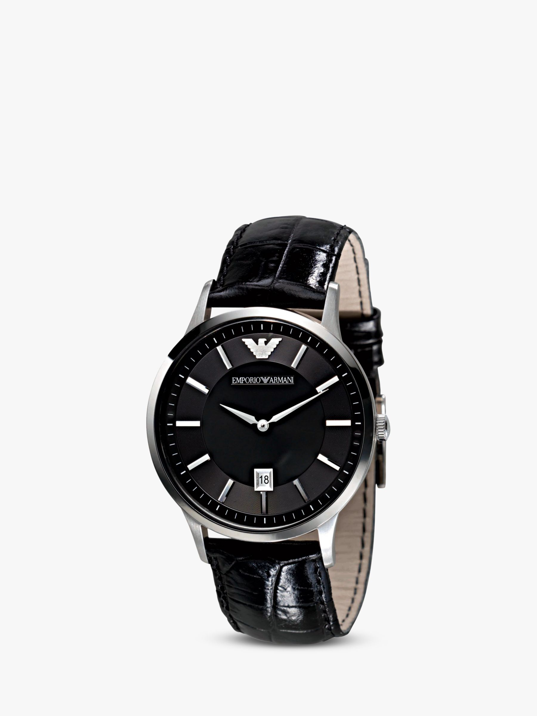 Emporio Armani AR2411 Men's Leather Strap Watch, Black/Silver