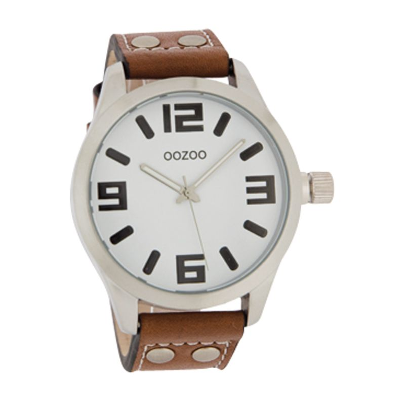 Oozoo C4057 Unisex Round Dial Brown Leather Stud Strap Watch