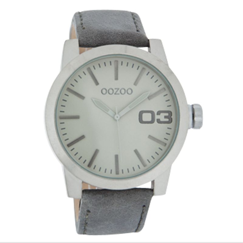 Oozoo C4137 Unisex Round Dial Grey Leather Strap Watch
