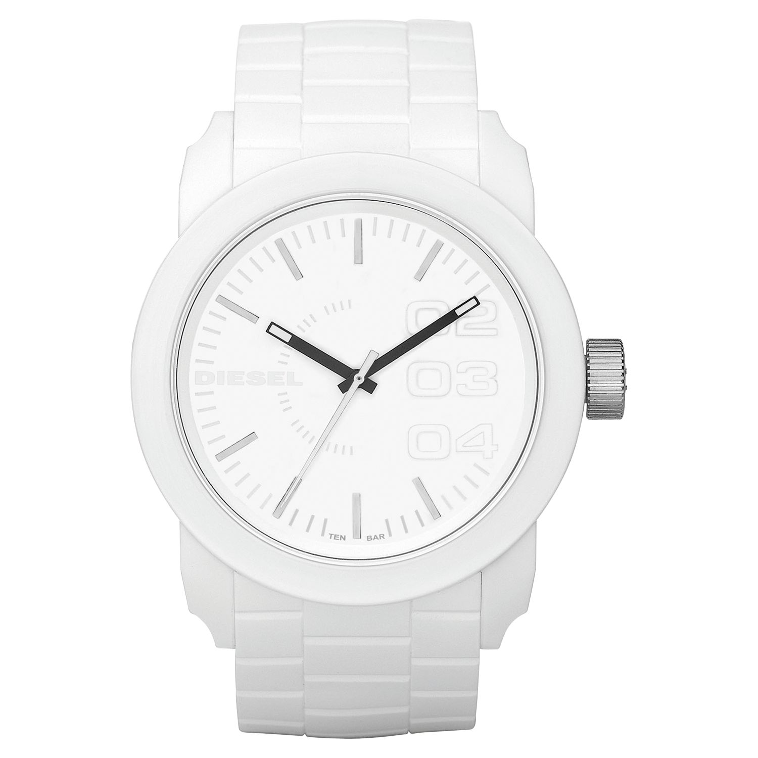Diesel DZ1436 Young Blood Unisex White Round Rubber Strap Watch