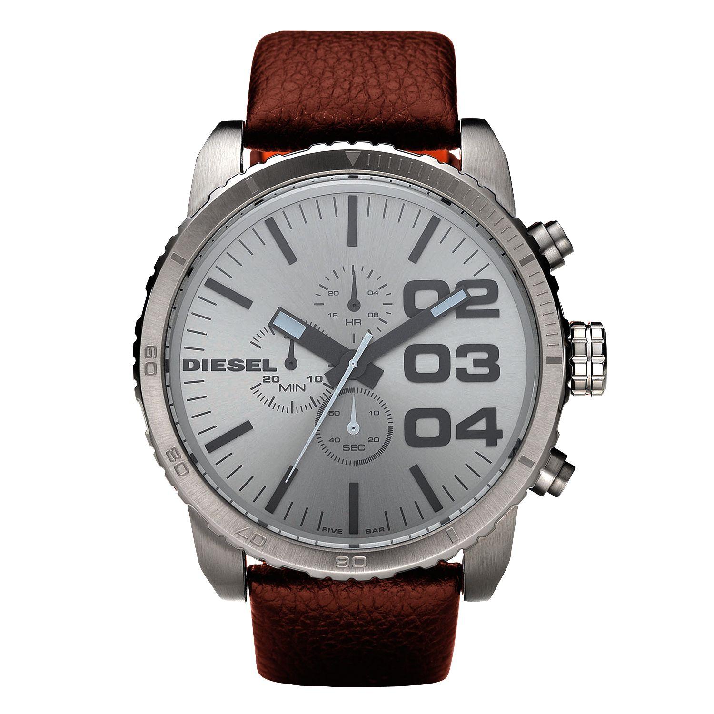 Diesel DZ4210 Men's Round Dial Leather Strap Watch, Gunmetal/Brown