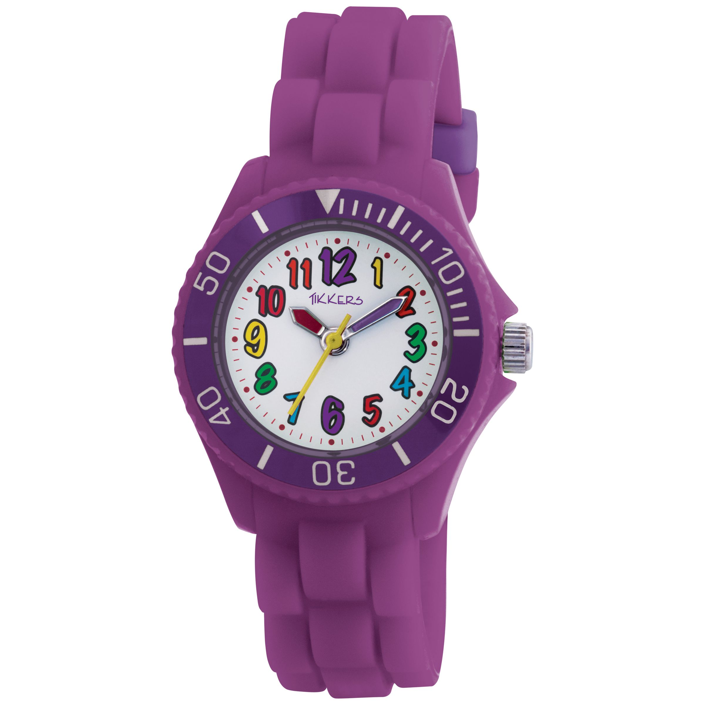 Tikkers TK0004 Kids Time Teacher Rubber Strap Watch, Purple