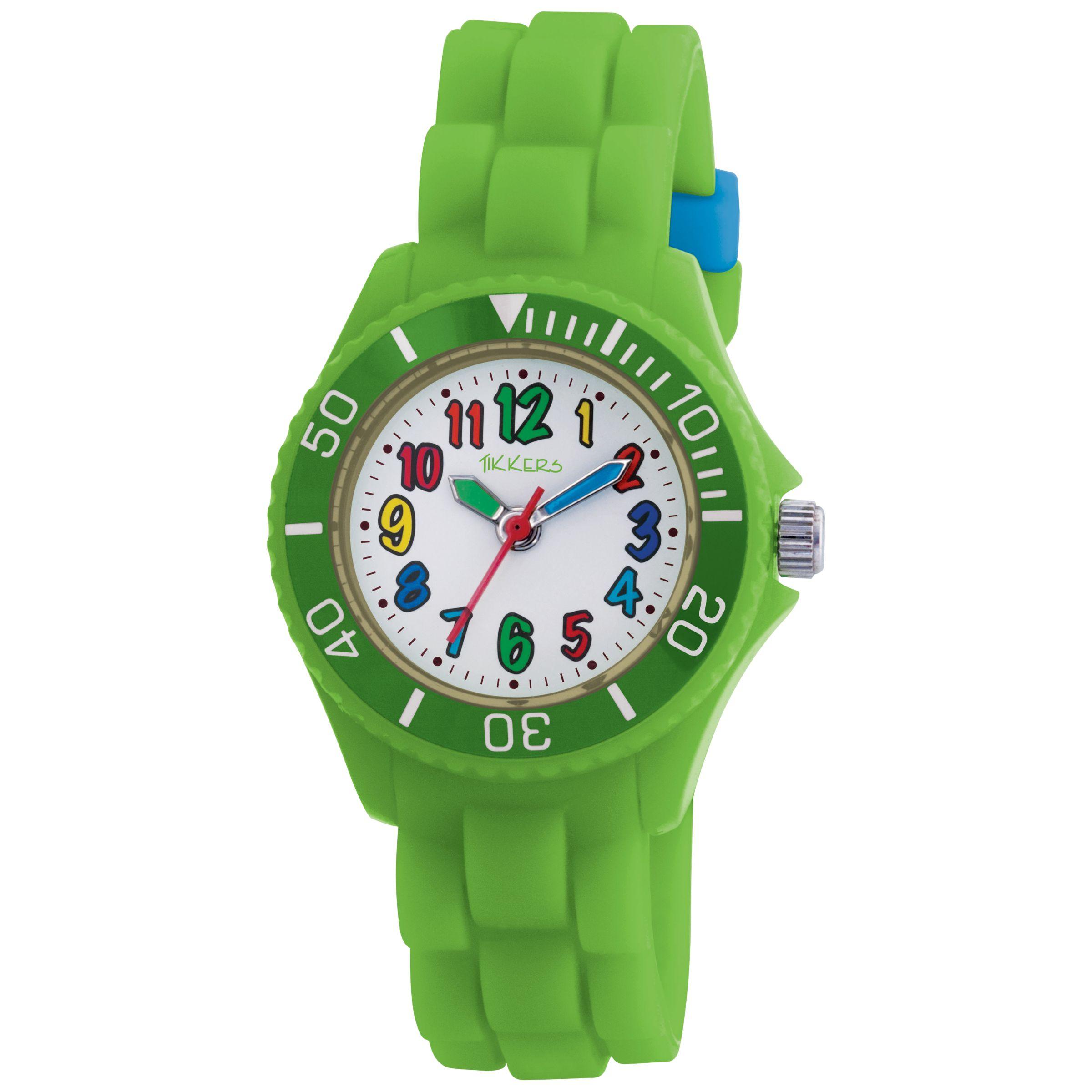 Tikkers TK0014 Kids Rubber Strap Watch, Green